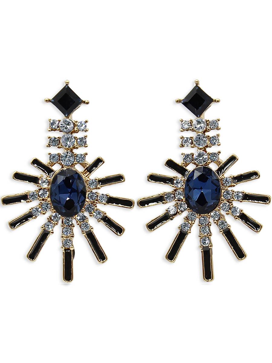 Серьги Taya, цвет: золотистый, темно-синий. T-B-12414Серьги с подвескамиСерьги-гвоздики с заглушкой металл-пластик изготовлены из бижутерного сплава. Серьги выполнены в форме лучей. Середина дополнена сверкающим камнем.