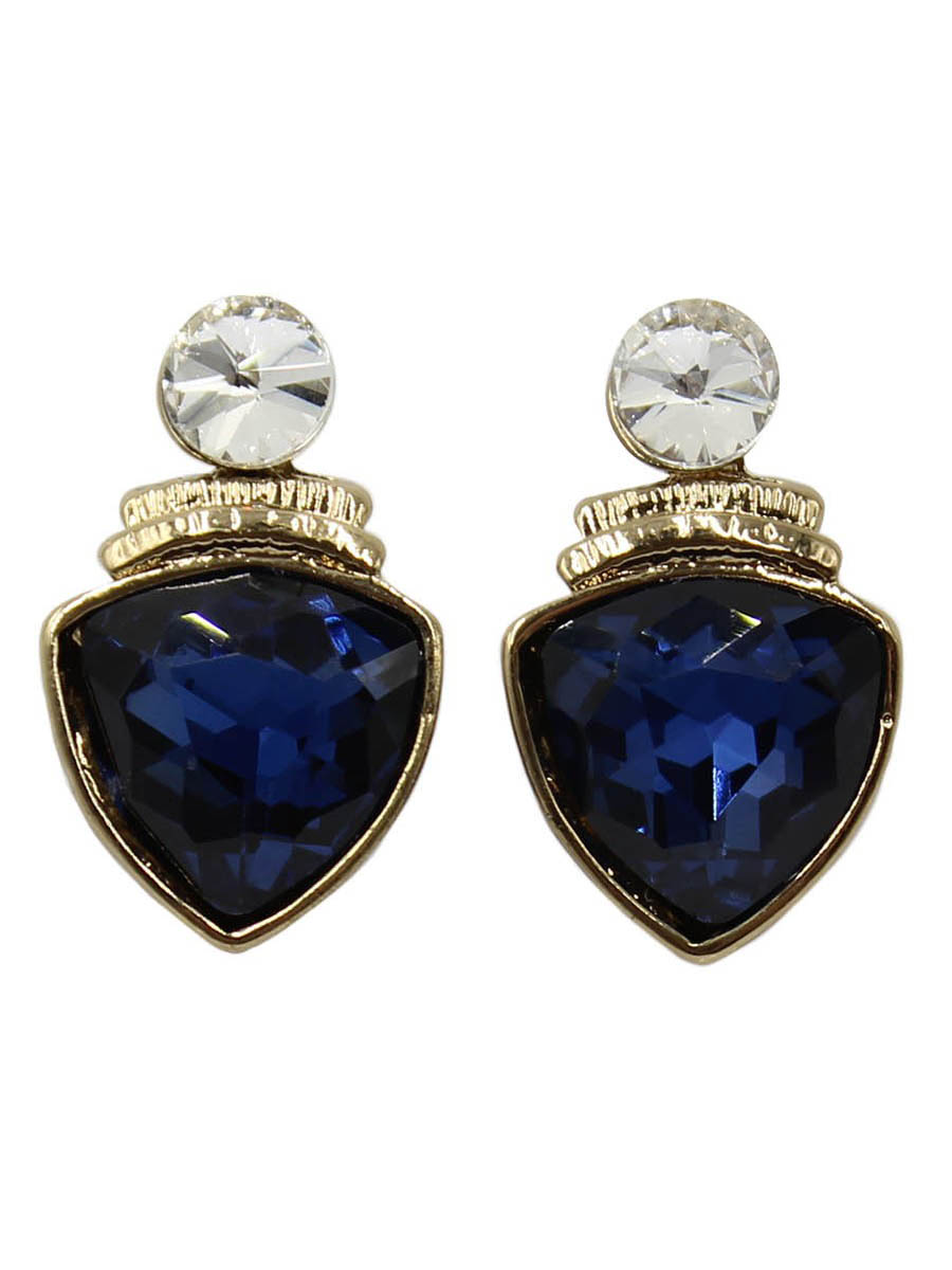 Серьги Taya, цвет: золотистый, темно-синий. T-B-12415Серьги с подвескамиСерьги-гвоздики с заглушкой металл-пластик изготовлены из бижутерного сплава. Крупный прозрачный кристалл закрывает прокол в мочке уха. Ниже расположен ромб с кристаллом. Легкие удобные универсальные сережки на каждый день к любому наряду.