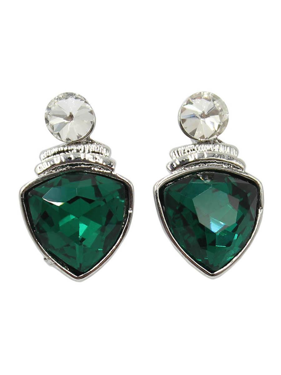 Серьги Taya, цвет: серебристый, зеленый. T-B-12416Серьги с подвескамиСерьги-гвоздики с заглушкой металл-пластик изготовлены из бижутерного сплава. Крупный прозрачный кристалл закрывает прокол в мочке уха. Ниже расположен ромб с темным кристаллом. Легкие удобные универсальные сережки на каждый день к любому наряду.