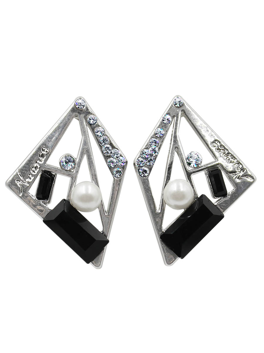 Серьги Taya, цвет: черный, серебристый. T-B-12423Серьги с подвескамиСерьги-гвоздики Nuance с заглушкой металл-пластик изготовлены из бижутерного сплава. Серьги замысловатой формы оформлены надписью и различными камнями.