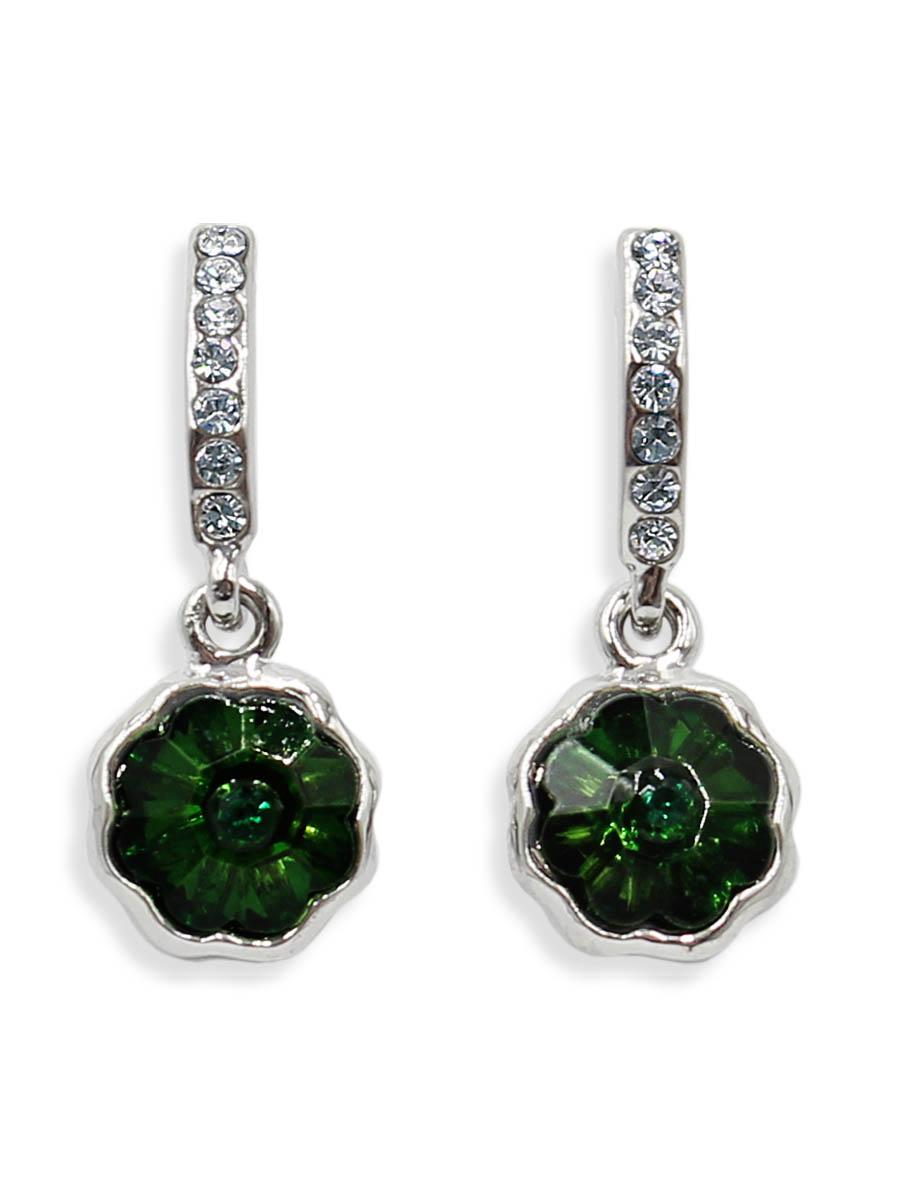 Серьги Taya, цвет: серебристый, зеленый. T-B-12428Серьги с подвескамиСерьги-гвоздики с заглушкой металл-пластик изготовлены из бижутерного сплава. Маленькие, идеально нежные серьги выполнены в форме цветочков на подвеске. Цветочки оформлены сверкающими камушками.