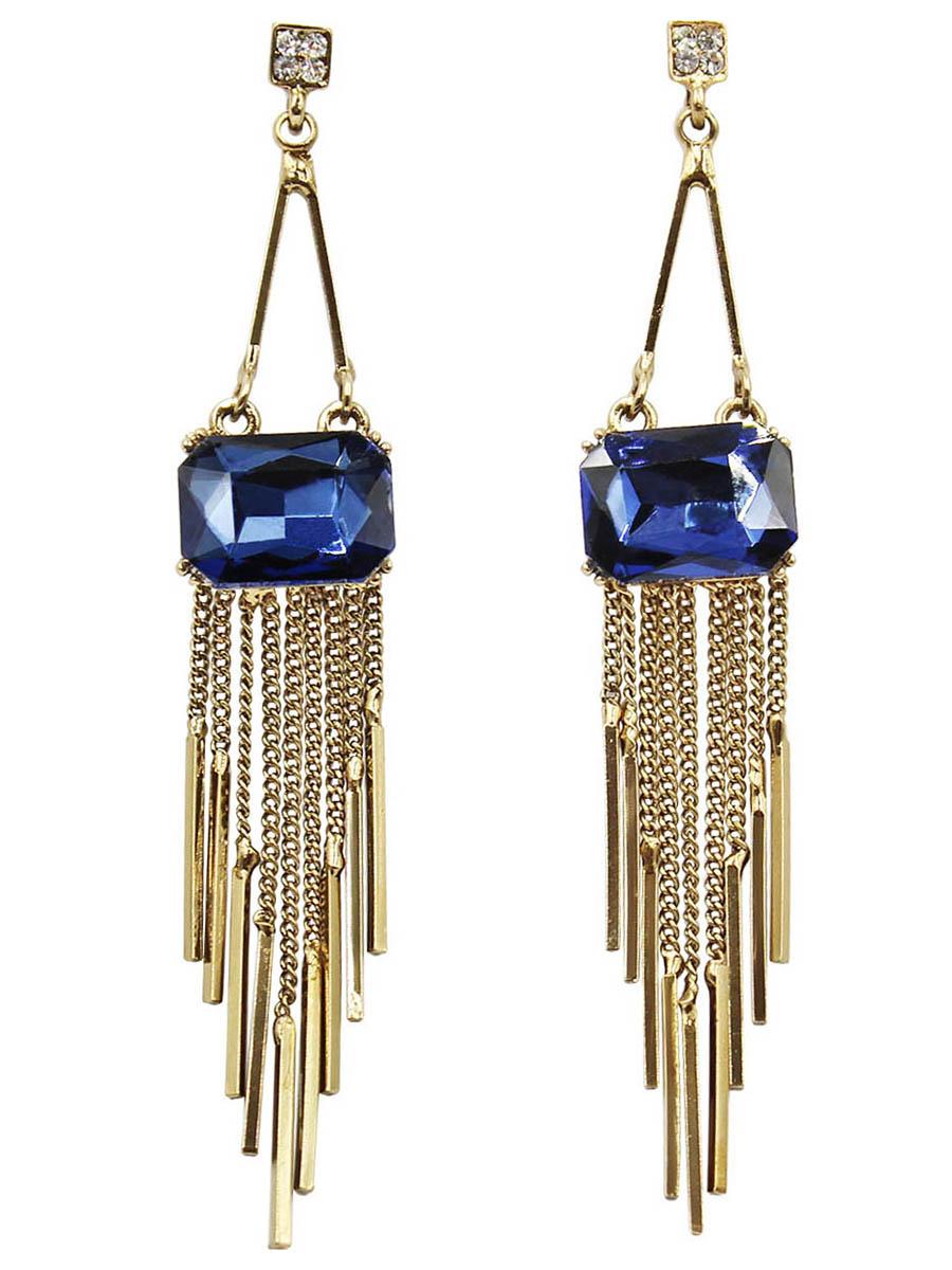 Серьги Taya, цвет: золотистый, темно-синий. T-B-12436Серьги с подвескамиСерьги-гвоздики с заглушкой металл-пластик изготовлены из бижутерного сплава. Красивые длинные серьги в винтажном исполнении. Тонкие нежные цепочки плавно переходят в золотые столбики.