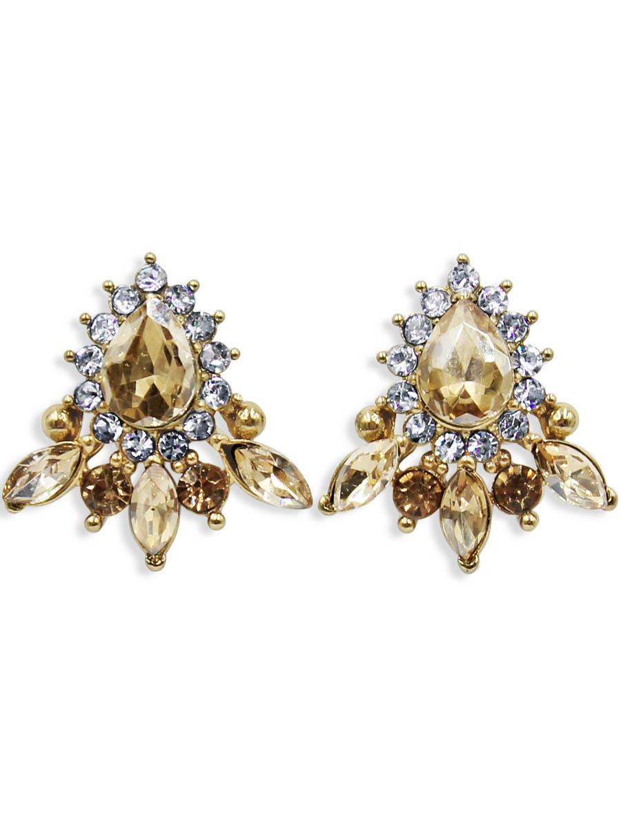 Серьги Taya, цвет: золотистый. T-B-12437Серьги с подвескамиСерьги-гвоздики с заглушкой металл-пластик изготовлены из бижутерного сплава. Нежные сережки оформлены сверкающими кристаллами.