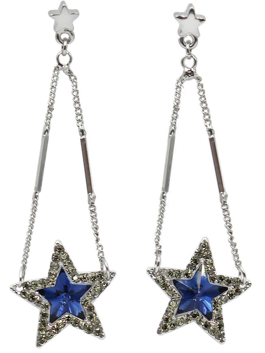 Серьги Taya, цвет: серебристый, темно-синий. T-B-12439Серьги-цепочкиСерьги-гвоздики с заглушкой металл-пластик изготовлены из бижутерного сплава. Сверху оформлена маленькая звездочка к которой крепятся серебряные комбинированные цепи. Внизу расположенакрасивая звезда с сверкающим кристаллом, окруженным мелкими стразами.