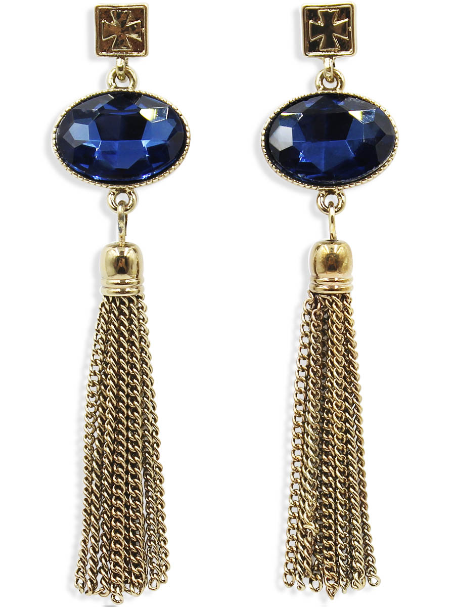 Серьги Taya, цвет: темное золото. T-B-12443Серьги с подвескамиСерьги-гвоздики с заглушкой металл-пластик изготовлены из бижутерного сплава. Серьги выполнены с оригинальными подвесками-кисточками которые крепятся к небольшим кристаллам.