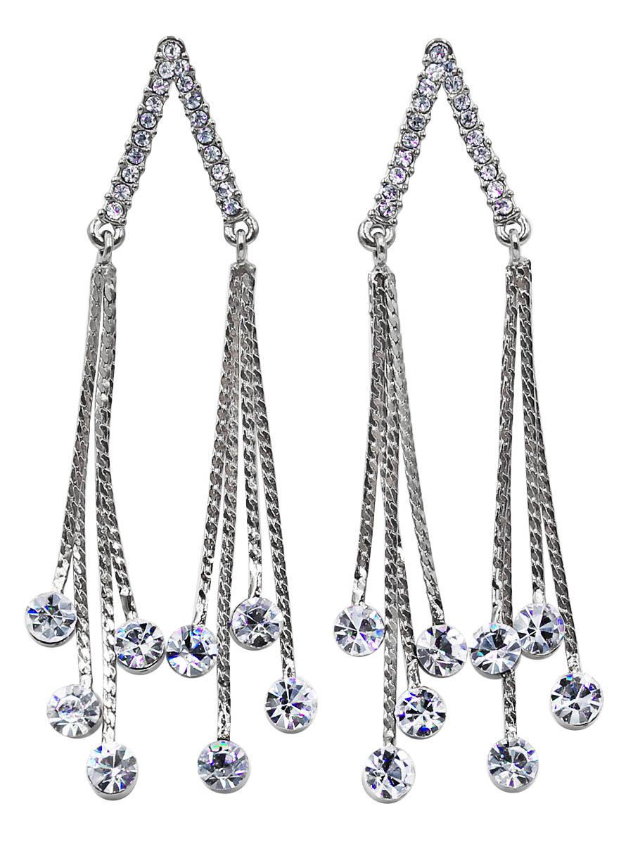 Серьги Taya, цвет: серебристый. T-B-12446Серьги с подвескамиСерьги-гвоздики с заглушкой металл-пластик изготовлены из бижутерного сплава. Выполнено изделие с подвесками-цепочками. Подвески плоские, на концах каждой из них великолепные сверкающие кристаллы, очень похожие на настоящие росинки.