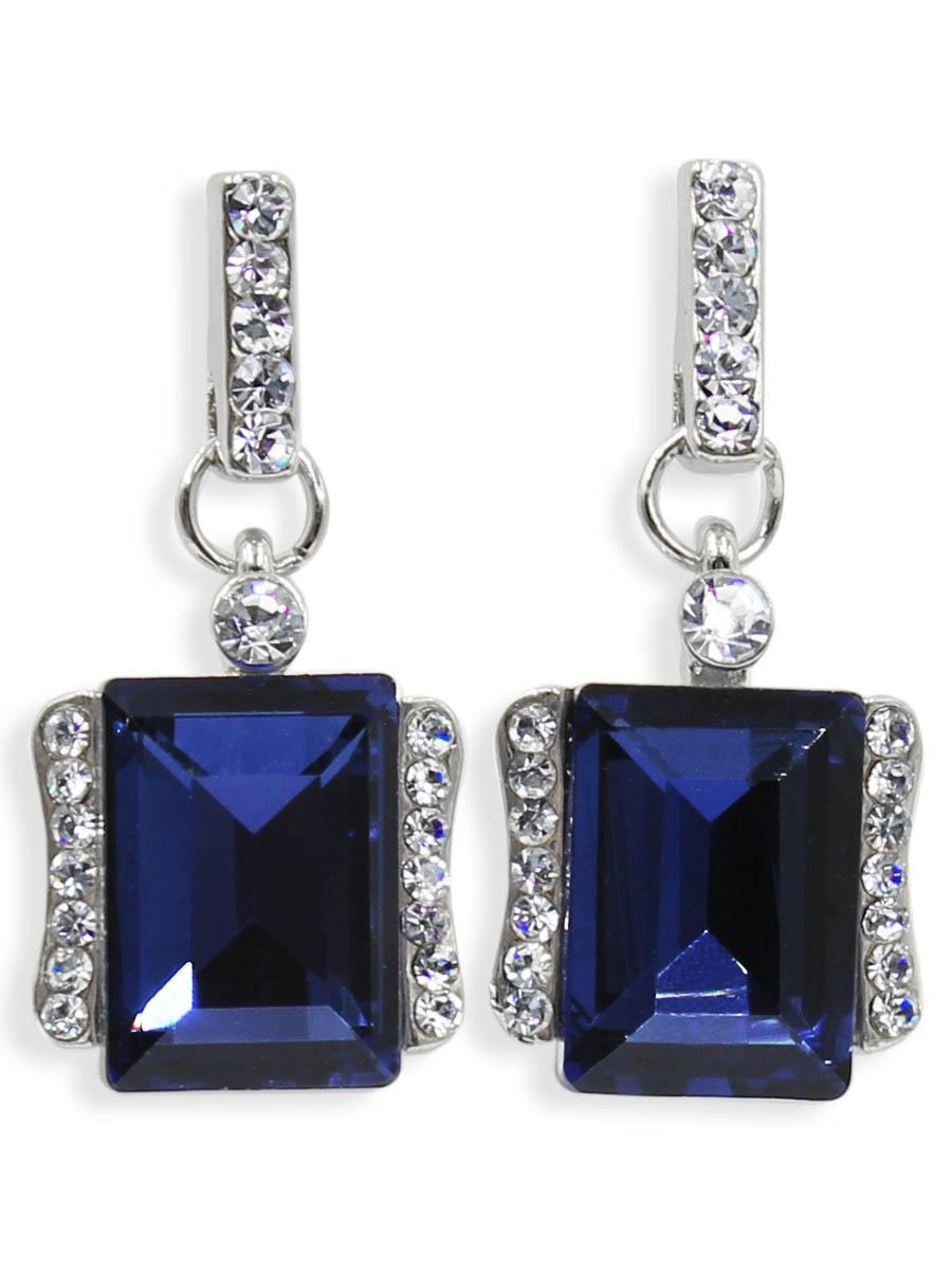 Серьги Taya, цвет: серебристый, темно синий. T-B-12468Серьги с подвескамиСерьги-гвоздики с заглушкой металл-пластик. Классическая форма с большим алмазным камнем по середине и спокойные тона делают эти серьги идеальными на каждый день.