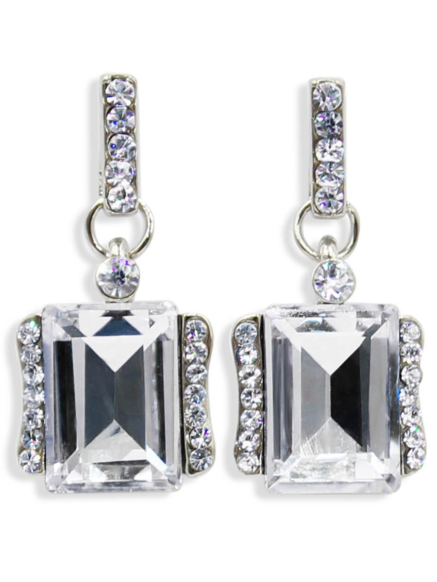 Серьги Taya, цвет: серебристый, прозрачный. T-B-12469Серьги с подвескамиСерьги-гвоздики с заглушкой металл-пластик. Классическая форма с большим алмазным камнем в середине и спокойные тона делают эти серьги идеальными на каждый день.