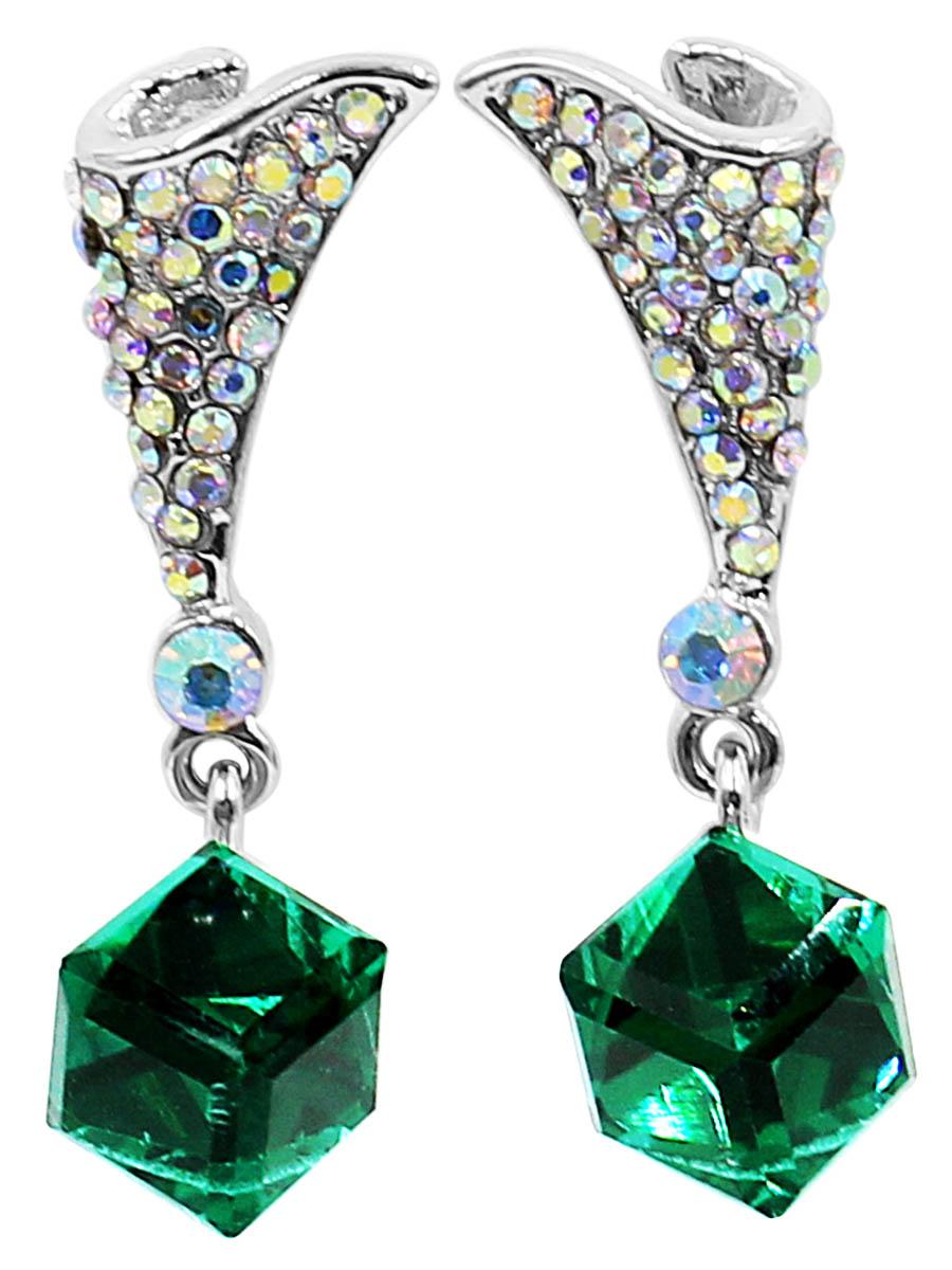 Серьги Taya, цвет: разноцветный, зеленый. T-B-12473Пуссеты (гвоздики)Серьги-гвоздики с заглушкой металл-пластик изготовлены из гипоаллергенного бижутерного сплава. Верхняя часть виде платочка, собранного на конус и усыпанного радужными стразами. Нижний кубик ярко-зеленый и полупрозрачный.