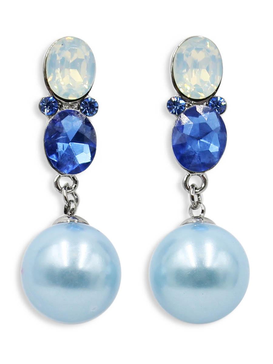 Серьги Taya, цвет: синий. T-B-12499Пуссеты (гвоздики)Серьги-гвоздики Taya с заглушкой металл-пластик. Нежные серьги оформлены большими камнями и на цепочках оригинально прикреплены шарики.