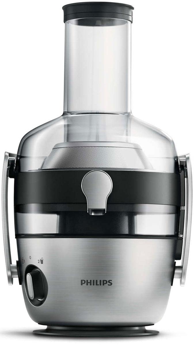 Philips HR1922/20 соковыжималкаHR1922/20Соковыжималка Philips HR1922/20с большой камерой подачи и мощным мотором.Благодаря встроенной системе капля-стоп вы можете приостановить приготовление сока, и при этом рабочее пространство всегда будет чистым и аккуратным. Чтобы включить систему капля-стоп, просто поверните носик. С помощью ситу с полировкой оставшийся жмых можно легко удалить обычной губкой.Благодаря технологии FiberBoost вы можете с помощью одной кнопки выбрать любую консистенцию: от освежающего прозрачного до более густого сока, содержащего до 50% больше мякоти. Уникальное сочетание удобных в управлении режимов постоянной скорости и специально сконструированного сита позволяет регулировать объем мякоти, поэтому каждый сможет приготовить сок так, как ему нравится.Новый электродвигатель отличается более низким уровнем шума и вибрации, поэтому процесс приготовления сока становится более тихим.Функция предварительной очистки Philips обеспечивает быструю промывку соковыжималки после приготовления сока или в перерывах при обработке разных ингредиентов. Налив воду в толкатель, можно промыть прибор для удаления оставшегося жмыха.Благодаря круглой форме без углов и выемок весь жмых собирается в контейнере для мякоти.Экономьте время и готовьте сок еще быстрее. Большинство фруктов и овощей не придется резать перед тем, как добавить их в соковыжималку - просто поместите их в 80-мм камеру подачи XXL. Здоровое питание каждый день!Простая обработка даже самых твердых фруктов и овощей благодаря мощному электродвигателю 1200 Вт. Выжимайте до 3 литров сока за один прием без необходимости очистки контейнера для мякоти.