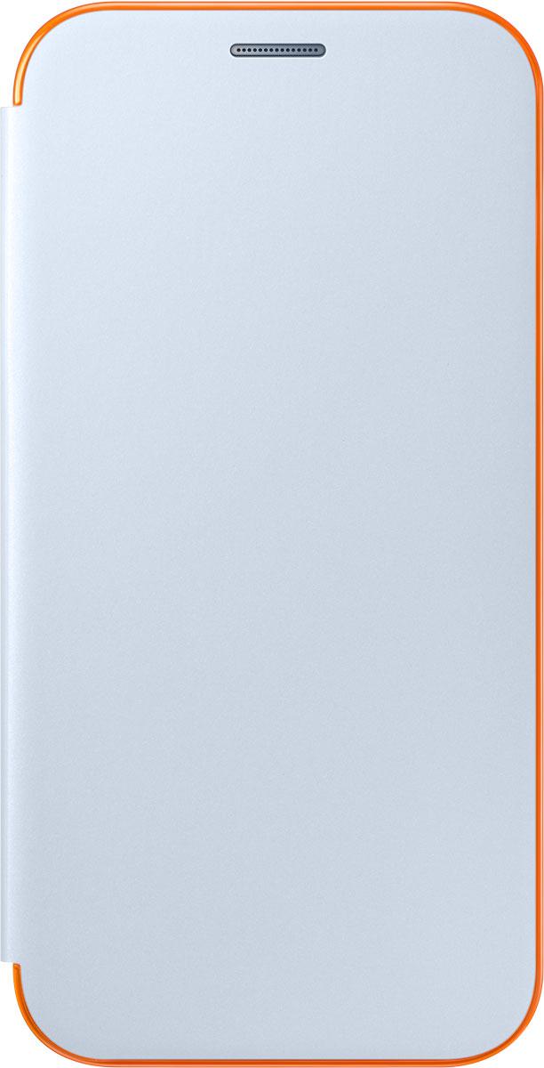 Samsung EF-FA720 FlipCover Neon чехол для Galaxy A7 (2017), BlueEF-FA720PLEGRUЧехол Neon Flip Cover создан для качественной защиты смартфона Samsung Galaxy A7 (2017) с учетом его особенностей. Он плотно прилегает к девайсу и защищает от пыли и царапин. Чехол выполнен из материалов высокого качества, приятен на ощупь, не увеличивает габаритов смартфона, подчеркивая его тонкую форму и современный стиль.