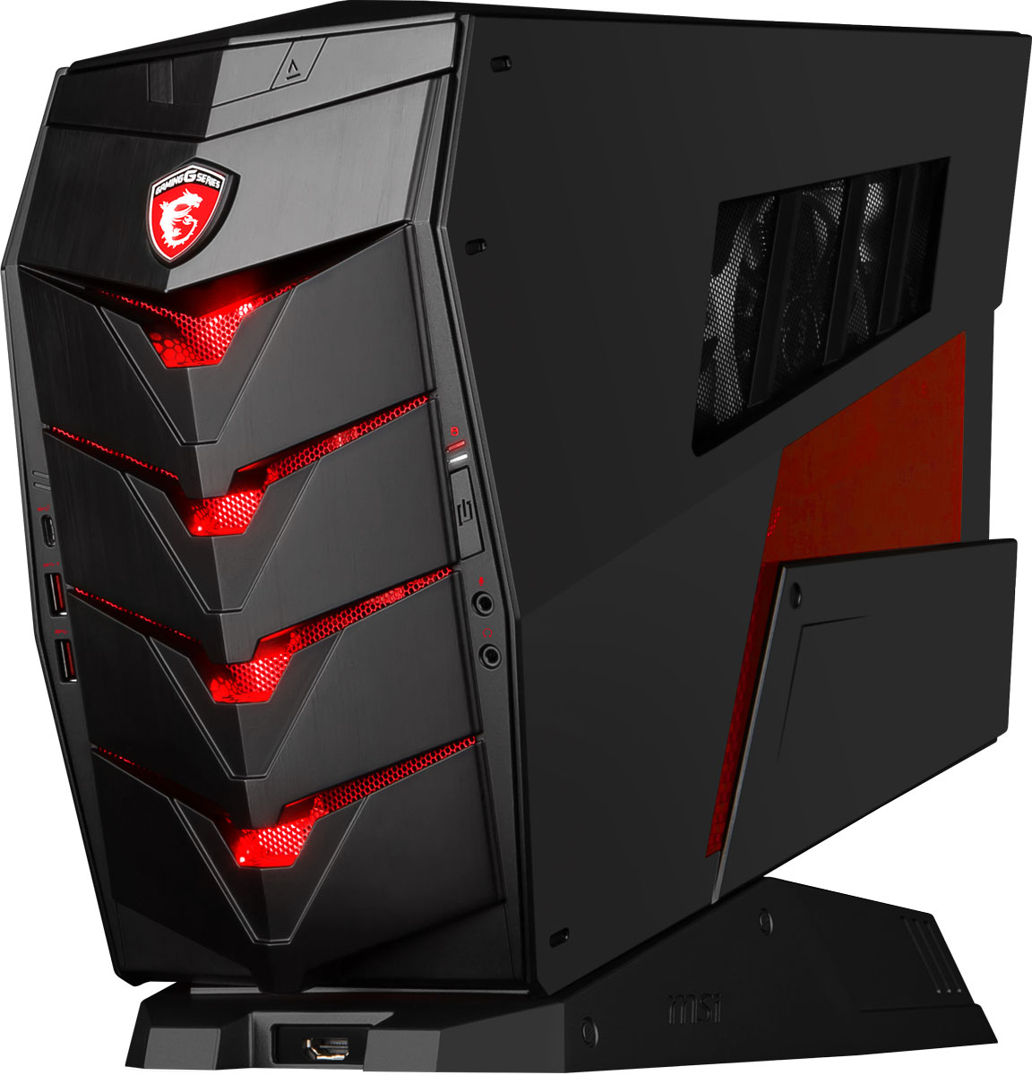 MSI Aegis X-045RU, Black настольный компьютер9S6-B90211-045Наслаждайся максимальной красотой новинок игрового мира с MSI Aegis X, ведь этот компактный десктоп комплектуется новейшей графической картой GeForce GTX 1070.Сердцем Aegis X стал мощный разблокированный процессор Intel Core i7-6700K, который вы сможете разогнать без использования сложных приложений – даже корпус открывать не придётся. Одно нажатие Кнопки Дракона на передней панели Aegis X, и внутренние компоненты придут в режим повышенной производительности. Это заставит игры и другие ресурсоёмкие задачи работать ещё более плавно, чем в нормальном режиме.Благодаря новой архитектуре процессоров 6-го поколения Intel Core, реализована поддержка высокоскоростных модулей памяти DDR4 с частотой 2133МГц. Двухканальная архитектура DDR4-2133 обеспечивает прирост производительности на 33% по сравнению с двухканальной работой памяти DDR3-1600.Добавьте уникальности вашему Aegis X с помощью подсветки Mystic Light. Пылающий огонь или холодный лед - все в ваших руках! По вашему вкусу вы можете выбрать из палитры любой цвет. Или используйте эффекты: дыхание, градиент, режимы для игр или прослушивания музыки.Донести аудиосигнал до ушей геймера в исходном качестве – задача не из простых. Специальный аппаратный усилитель Audio Boost, расположенный на материнской плате Aegis X, позволяет добиться наилучшего звучания голоса и музыки, в особенности для геймеров, использующих игровые гарнитуры.Копирование ваших любимых игр и фильмов через USB теперь происходит как никогда быстро. USB 3.1 Gen2 позволяет передавать данные со скоростью до 10Гб/с! Получите все преимущества USB 3.1 Gen2 в сочетании с более удобным разъемом Type-C. Реверсивные коннектор позволяет с легкостью подключать USB устройства.Чтобы добиться выдающейся производительности, инженеры MSI снабдили Aegis X мощной системой охлаждения Silent Storm Cooling 2 Pro. Два отдельных блока Aegis X охлаждаются независимыми воздушными потоками. Вы сможете даже установить жидкост