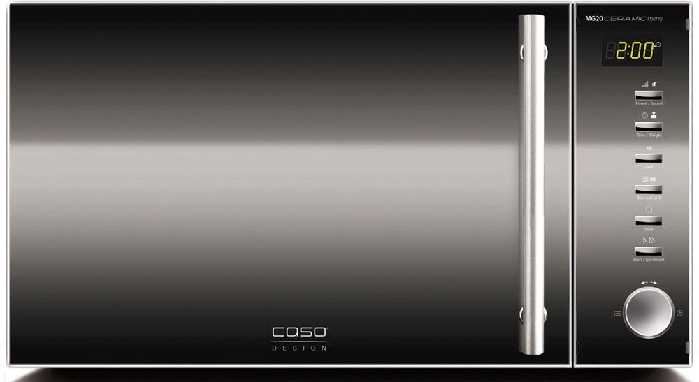 CASO MG 20 Ceramic Menu СВЧ-печьMG 20 Ceramic MenuCASO MG 20 Ceramic Menu - стильная СВЧ-печь в оригинальном черном корпусе с серебристыми элементами. Зеркальная передняя панель подчеркивает изящество дизайна. Ровное керамическое дно очень легко моется и дает больше места для прямоугольных форм при готовке. Отражатель микроволн равномерно распределяет микроволны, блюдо отлично готовится со всех сторон.Данная модель имеет внутреннее освещение и удобное электронное управление для максимально комфортной эксплуатации. Множество автоматических программ, а также таймер со звуковым сигналом также поможет быстро и просто приготовить то или иное блюдо.Автоматических программ: 14Возможность отключения звукового сигналаТаймер: 60 мин