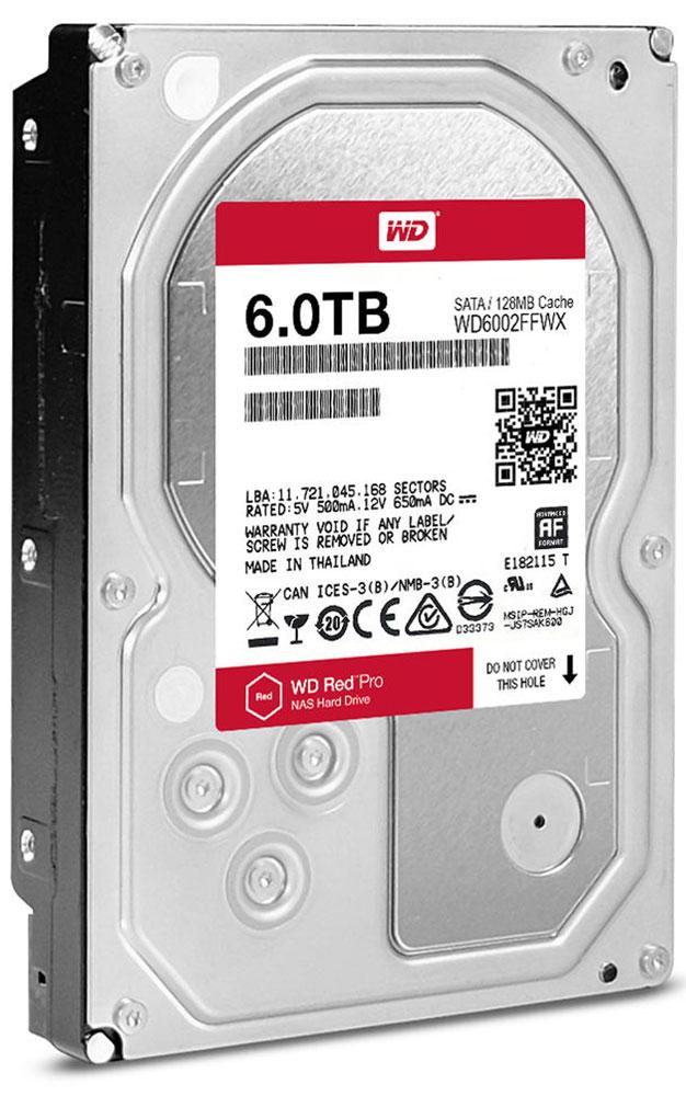 WD Red Pro 6TB внутренний жесткий диск (WD6002FFWX)WD6002FFWXОснастите свою систему NAS накопителями WD Red Pro, чтобы выполнять различные действия с той же скоростью, с которой работает ваша компания, и легко интегрируйте их в имеющуюся сетевую инфраструктуру. Используя специализированные накопители WD Red Pro для NAS, вы делаете свой бизнес эффективнее, ведь ваши сотрудники могут быстро обмениваться файлами и надежно архивировать результаты работы.Многоосный датчик автоматически обнаруживает трудноуловимые сотрясения, которые могут возникать в системах NAS большой емкости, а система динамического управления высотой полета головок компенсирует эти движения, защищая тем самым данные.Доступная для загрузки бесплатная программа Acronis True Image WD Edition позволяет клонировать диски, а также создавать резервные копии операционной системы, приложений, настроек и всех данных.