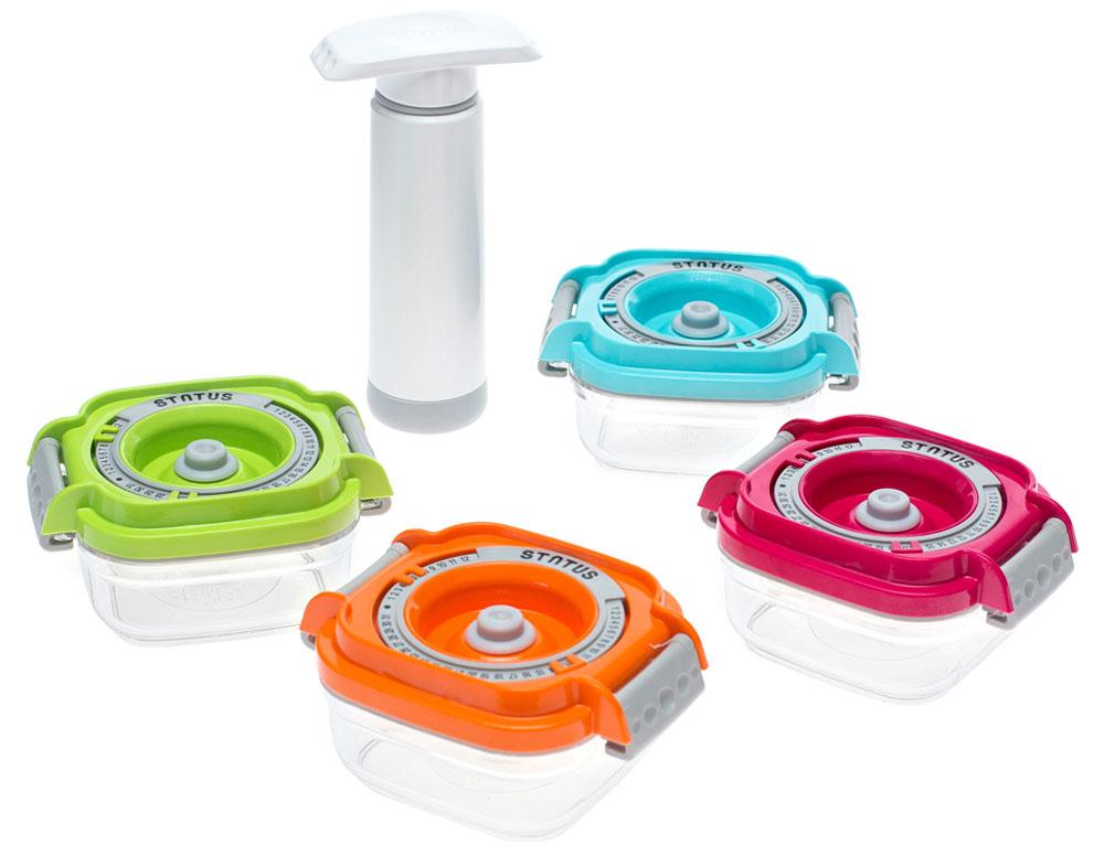 Status Vac-Baby контейнеры для вакуумного упаковщика, 4 штVAC-BABYБлагодаря использованию вакуумных контейнеров Status Vac-Baby продукты не подвергаются внешнему воздействию и срок хранения значительно увеличивается. Продукты сохраняют свои вкусовые качества и аромат, а запахи в холодильнике не перемешиваются. Допускается замораживание (до -21 °C), мойка контейнера в посудомоечной машине, разогрев в СВЧ (без крышки). На крышке можно выставить месяц и число.