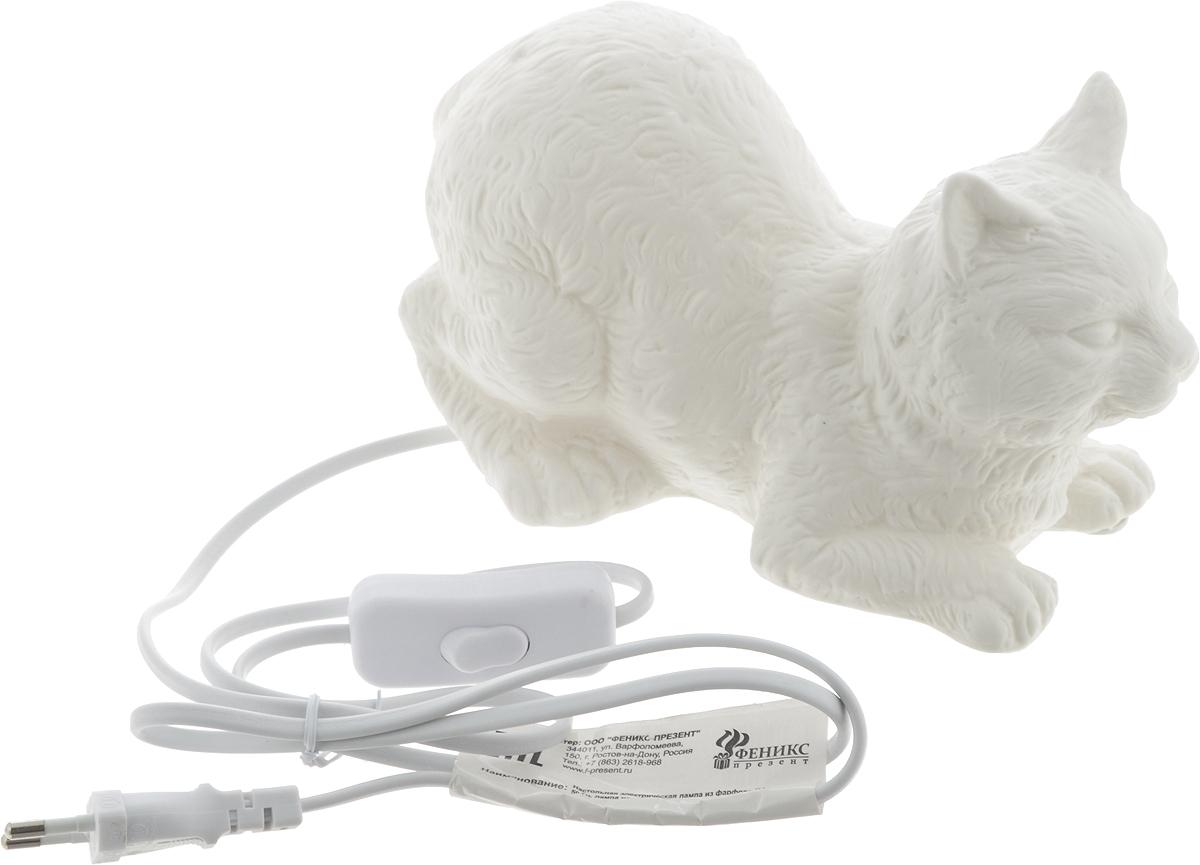 Лампа настольная Феникс-Презент Кошка, 21 х 12,5 х 12 см лампа настольная феникс презент белка цвет белый 17 х 12 х 19 см