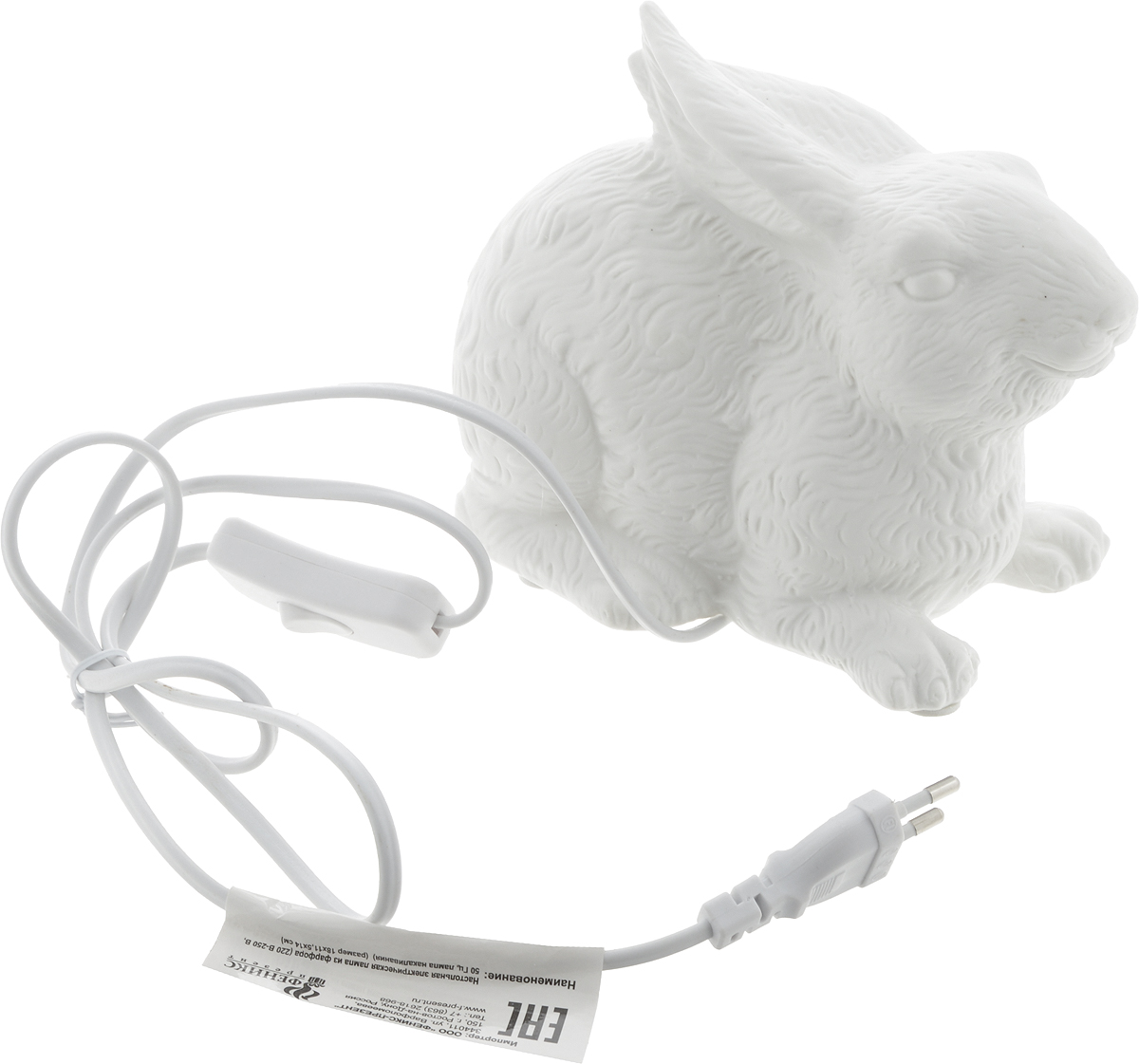 Лампа настольная Феникс-Презент Заяц, 18 х 11,5 х 14 см41622Оригинальная настольная лампа Феникс-Презент Заяц изготовлена из фарфора. Включение производится механически с помощью кнопки. Лампочка легко меняется. Длина провода: 145 см. Питание: от розетки. Напряжение: 220 В. Частота: 50 Гц. Размер лампы: 18 х 11,5 х 14 см.