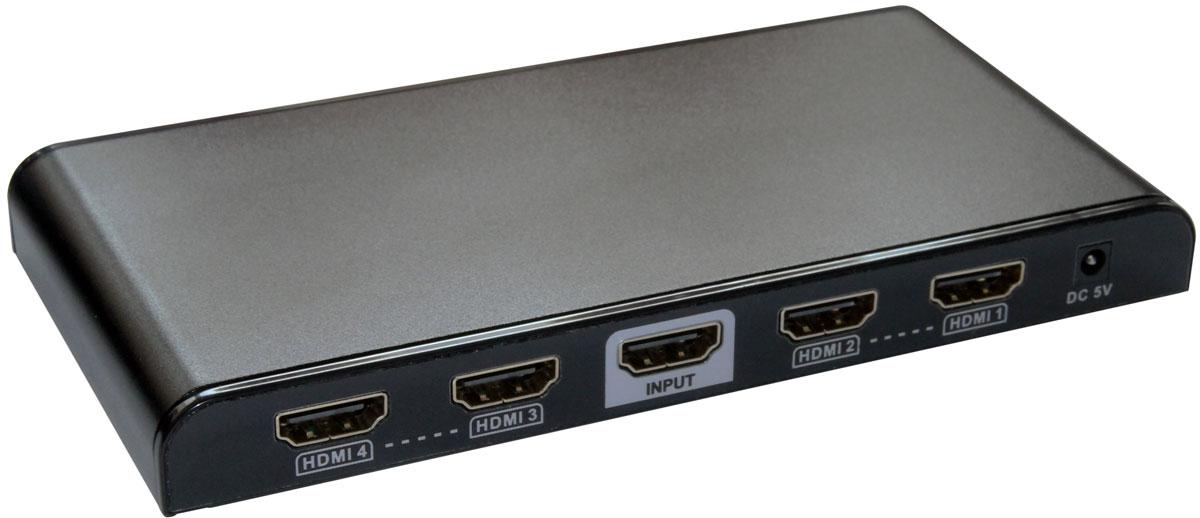 Greenconnect GL-314Pro разветвительGL-314proРазветвитель Greenconnect GL-314Pro предназначен для подключения одного устройства воспроизведения HD-видео к четырем мониторам или телевизорам, оснащенным разъемом HDMI. При помощи разветвителя можно воспроизводить высококачественное изображение на демонстрационном стенде или в магазине техники, транслировать спортивные мероприятия или развлекательные шоу в баре или клубе, показывать обучающие и научные передачи в образовательных учреждениях, выводя изображение на несколько экранов одновременно.Модель оснащена усилителем сигнала, что дает возможность использовать кабели HDMI длиной до 15 м от источника сигнала до сплиттера и до 25 м - до устройства воспроизведения. Такая длина позволяет создать максимально удобную и эффективную инфраструктуру трансляции видео.Greenconnect GL-314Pro соответствует стандарту HDMI v1.4 и поддерживает разрешение видео до UltraHD 4Kx2K и трансляцию 3D изображения, а значит качество картинки на экране будет отличным, демонстрация возможностей телевизора или монитора - эффектной.