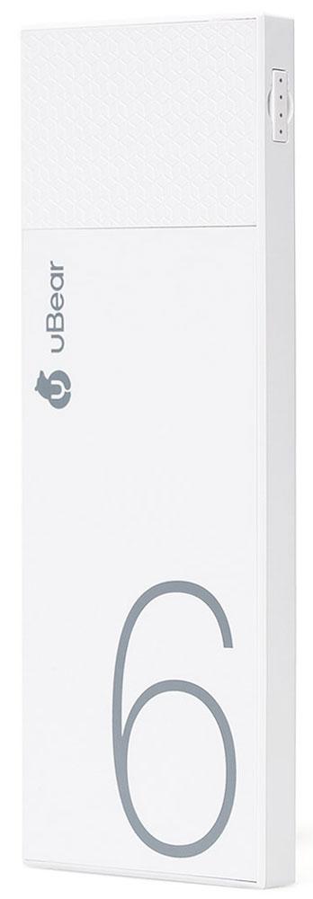 uBear Light 6000, White внешний аккумуляторPB05WH6000-ADВнешний аккумулятор uBear Light 6000 покорит вас своим внешним видом с первого взгляда. Высококачественный пластик и невероятно тонкий дизайн. Аккумулятор прекрасно будет сочетаться с вашим смартфоном или планшетом, поддерживая их изящный стиль.Технические характеристики на высоте: LED-индикатор заряда, защита от короткого замыкания, перегрева, большое количество циклов перезарядки.