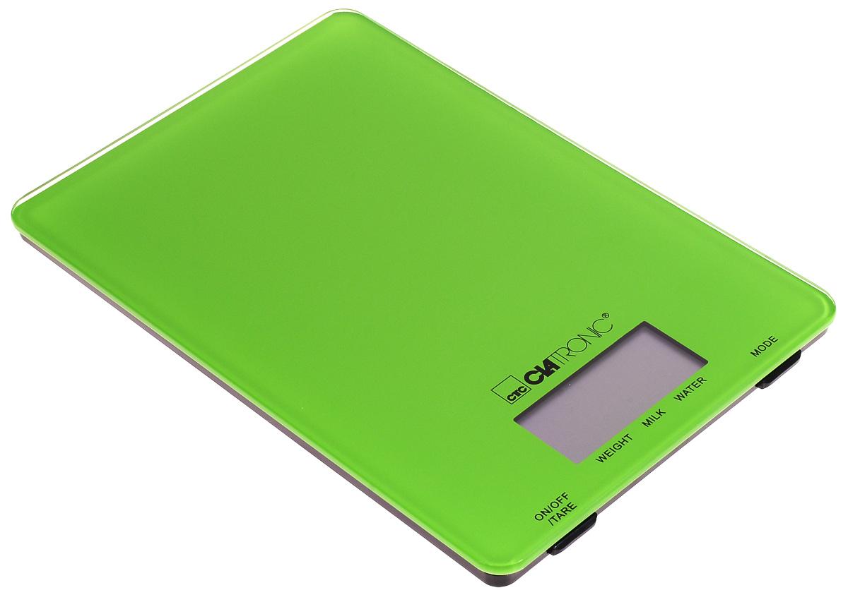 Clatronic KW 3626, Green кухонные весыKW 3626 Glas grunКухонные электронные весы Clatronic KW 3626 - незаменимые помощники современной хозяйки. Они помогут точно взвесить любые продукты и ингредиенты. Кроме того, позволят людям, соблюдающим диету, контролировать количество съедаемой пищи и размеры порций. Предназначены для взвешивания продуктов с точностью измерения до 1 грамма.