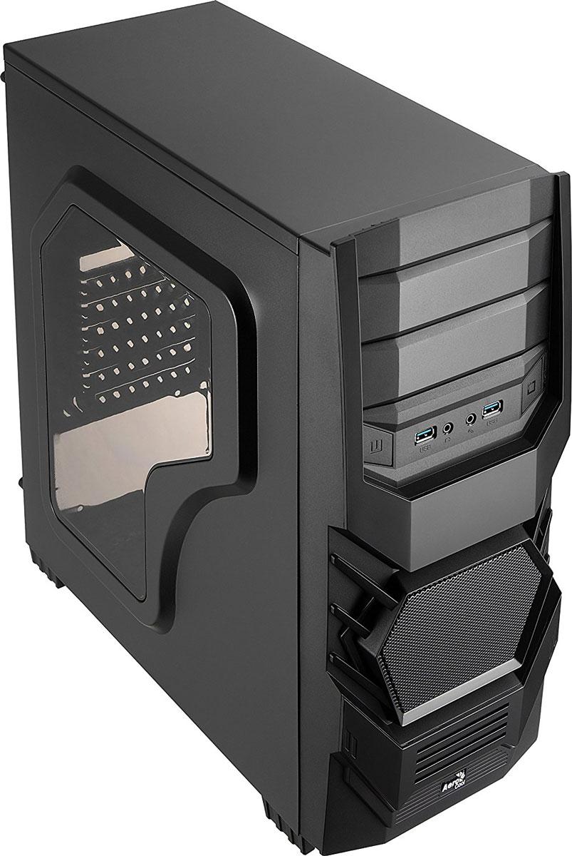 Aerocool Cyclops Advance, Black компьютерный корпус4713105955163Корпус Aerocool Cyclops Advance выполнен из панелей толщиной 0,5 мм и полностью окрашен изнутри в чёрный цвет. Крупная сетчатая решётка на передней панели пропускает в корпус больше воздуха и обеспечивает эффективное охлаждение.На передней панели имеет 2 отсека для 5,25-дюймового оптического привода или панели управления вентиляторами. Внутри корпуса располагаются 3 отсека для 3,5-дюймовых и 2 для 2,5-дюймовых накопителей. Поддерживаются системы охлаждения процессора высотой до 155 мм. В Aerocool Cyclops Advance можно установить high-end видеокарты длиной до 390 мм.