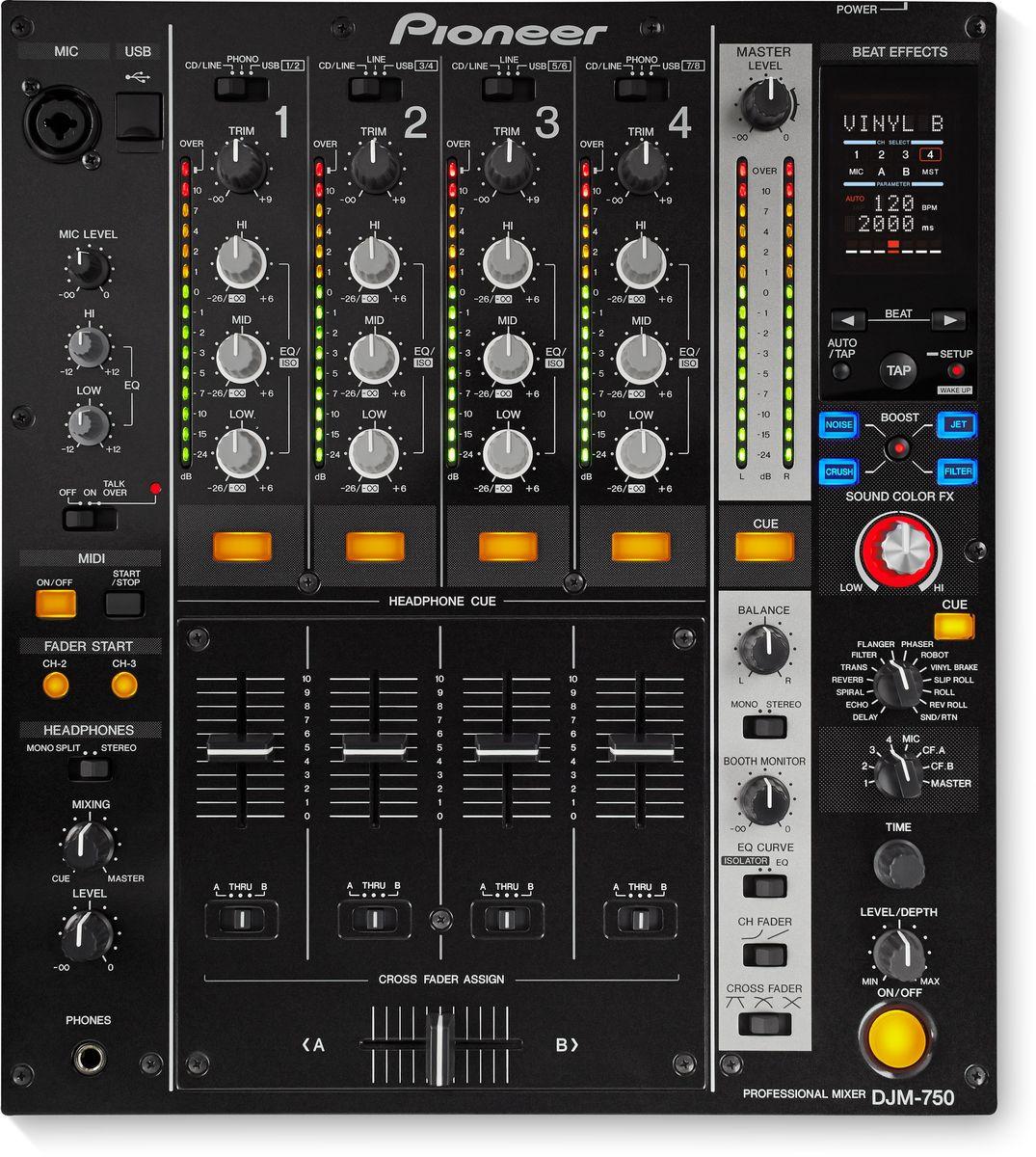 Pioneer DJM-750-K микшерный пульт среднего уровня375322Четырехканальный цифровой микшер Pioneer DJM-750 берет новую высоту в управлении эффектами и взаимодействии с ПО благодаря Boost Color FX и встроенной 24-бит/96 кГц звуковой карте.Boost Color FX добавляет второй эффект к Sound Color FX и позволяет контролировать параметры обоих эффектов всего одной кнопкой. В микшере целых 13 Beat FX, включая новый Vinyl Brake с отдельным регулятором Level/Depth для тактильного контроля над параметром Wet/Dry.Данная модель имеет встроенную высококачественную USB-звуковую карту. Для мгновенного доступа к установленному на ноутбуке ПО достаточно одного кабеля USB. На этом сходство с топовыми пультами Pioneer не заканчивается. DJM-750 оснащен высококачественным звуковым трактом, хорошо узнаваемым форматом, надежными фейдерами, трехполосным эквалайзером с полным вырезанием частот, и полным контролем по MIDI.Поддержка трех частот дискретизации (96/48/44.1 кГц) и стандарты ASIO/Core Audio позволяют задействовать DJM-750 при записи музыки. Дружественный интерфейс Pioneer запускается с подключением к компьютеру, настроить параметры микшера можно в соответствии с собственными предпочтениями.Микшерный пульт оснащен таким же 32-битным цифровым сигнальным процессором. A 24-битный A/D-конвертер оцифровывает и повышает качество звука на всех выходах, в то время как уменьшающий колебания кварцевый стабилизатор частоты и высококачественная схема Send/Return обеспечивает чистейшие внешние эффекты.Трехполосный эквалайзер и трехполосный изолятор есть на каждом каналеПорт USB расположен на верхней панели для удобного переключения между устройствамиАвтоматический спящий режимP-Lock Fader Cap на канальных фейдерах и кроссфейдере исключает случайное переключение во время выступленияХарактеристики:Частотный диапазон: 20 - 20000 ГцЧастота дискретизации: 96 кГцА/Ц преобразователь: 24 битЦ/А преобразователь: 24 битСоотношение сигнал/шум: 106 дБЗвуковые искажения: 0,004%Эффекты/Семплер: 3-полосный изолятор