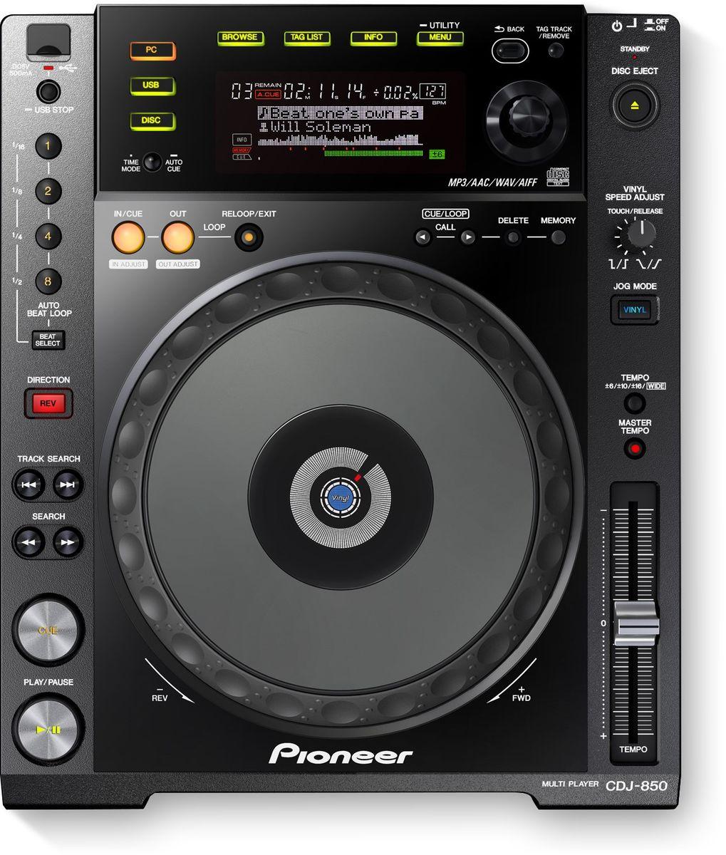 Pioneer CDJ-850-K DJ проигрыватель375310DJ-проигрыватель Pioneer CDJ-850-K с полноразмерным джогом выполнен в стильном черном цвете и идеально впишется в любой интерьер.Вы можете работать с CD, USB или напрямую с PC или Mac. Устройство имеет полноценный профессиональный джог диаметром 206 мм, который является индустриальным стандартом, и большой дисплей. USB HID интерфейс позволяет использовать плеер как контроллер для компьютерных программ. CDJ-850-K поддерживает файлы MP3, AAC, AIFF и WAV.Pioneer CDJ-850-K поставляется вместе с программой управления музыкальной библиотекой rekordbox. Программа анализирует BPM и позиции битов в треках, находящихся на компьютере, позволяя диджеям упорядочить музыку по жанрам, а также создавать плейлисты перед выступлением. Более того, треки и плейлисты можно легко перенести на компьютер через USB. Вы сможете редактировать свои плейлисты и непосредственно во время выступления.Функция Auto Beat Loop для идеальных петель: при нажатии кнопки 1, 2, 4 или 8 Auto Beat Loop проигрыватель автоматически установит сверхточную петлю нужного размера для идеального исполнения.Музыкальные файлы и данные с одного USB или SD устройства могут быть распределены одновременно на четыре плеера Pioneer CDJ, соединенных сетевым кабелем LAN.Встроенная поддержка Serato Scratch Live DJХарактеристики:Частота дискретизации: 48 кГцА/Ц преобразователь: 24 битЦ/А преобразователь: 24 битСоотношение сигнал/шум: 115 дБЗвуковые искажения: 0,003%Уровень выходного сигнала: 2.0 VrmsПотребляемая мощность: 21 ВтДиаметр джога: 206 ммСвойства джога: CDJ / Vinyl режим / сенсорныйСвойства Cue: Cue Loop Memory / Cue point sampler / Real Time Cue / авто Cue / ручная CueПетли: Auto Beat Loop / Hot Loop / бесшовная петля в реальном времени / возврат к петле / настройка входа/выхода петлиКонтроль производительности: Back Cue start / Fader Start / Pitch Bend / Quick Scratch после поиска трека / Relay Play / Scratch Play / Cue / настройка скорости винил / размер фрейма 1/75 с / ревер