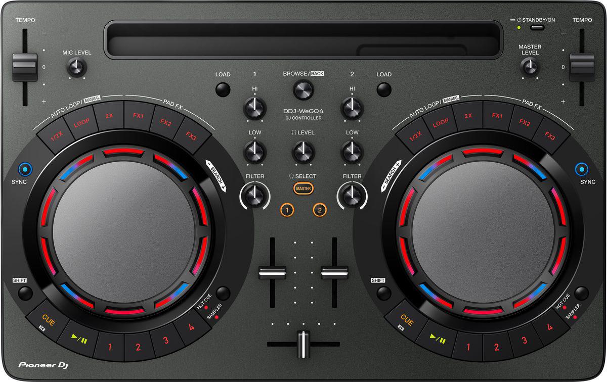 Pioneer DDJ-WEGO4-K DJ контроллер для начинающих397981Не надо долго искать, с чего начать! Pioneer DDJ-WEGO4-K - как раз то, что нужно начинающему диджею, чтобы сделать первые шаги. С помощью этого почти невесомого контроллера можно микшировать треки из фонотеки iTunes твоего iPad, или работать с музыкой, хранящейся на ноутбуке.В модели есть всё для того, чтобы научиться сводить профессионально: кнопки play/cue, регуляторы эквалайзера, ползунковые регуляторы темпа, кроссфейдер и джог для скретча. Унаследованные от профессионального оборудования семплер, Hot Cues и эффекты Pad FX добавят твоим выступлениям еще больше творческого разнообразия. Подключить DDJ-WeGO4 очень просто, просто подсоедини поставляемый в комплекте кабель USB или Lightning-кабель, и готово. iPad надежно фиксируется в слоте на контроллере под углом, удобным для обзора.Использование встроенного динамика компьютера как мастер выхода и подключение наушников к контроллеру.Переключение между 3-полосным эквалайзером, 2-полосным эквалайзером и режимом фильтра в Rekordbox DJ или WeDj для прозрачных и сбалансированных звуков.В комплекте с Pioneer DDJ-WEGO4-K поставляется лицензионный ключ для профессиональной DJ-программы rekordbox dj, которая работает на платформах Mac и Windows. Можно подключить контроллер к ноутбуку и начать играть сразу после покупки!Характеристики:Частотный диапазон: 20 - 20000 ГцЧастота дискретизации: 48 кГцА/Ц преобразователь: 24 битЦ/А преобразователь: 24 битЗвуковые искажения: 0,006%Эффекты/Семплер: сэмплер: 4 на каждую декуДиаметр джога: 109 ммКоличество Hot Cue: 8Петли: Autoloop / Manual loop
