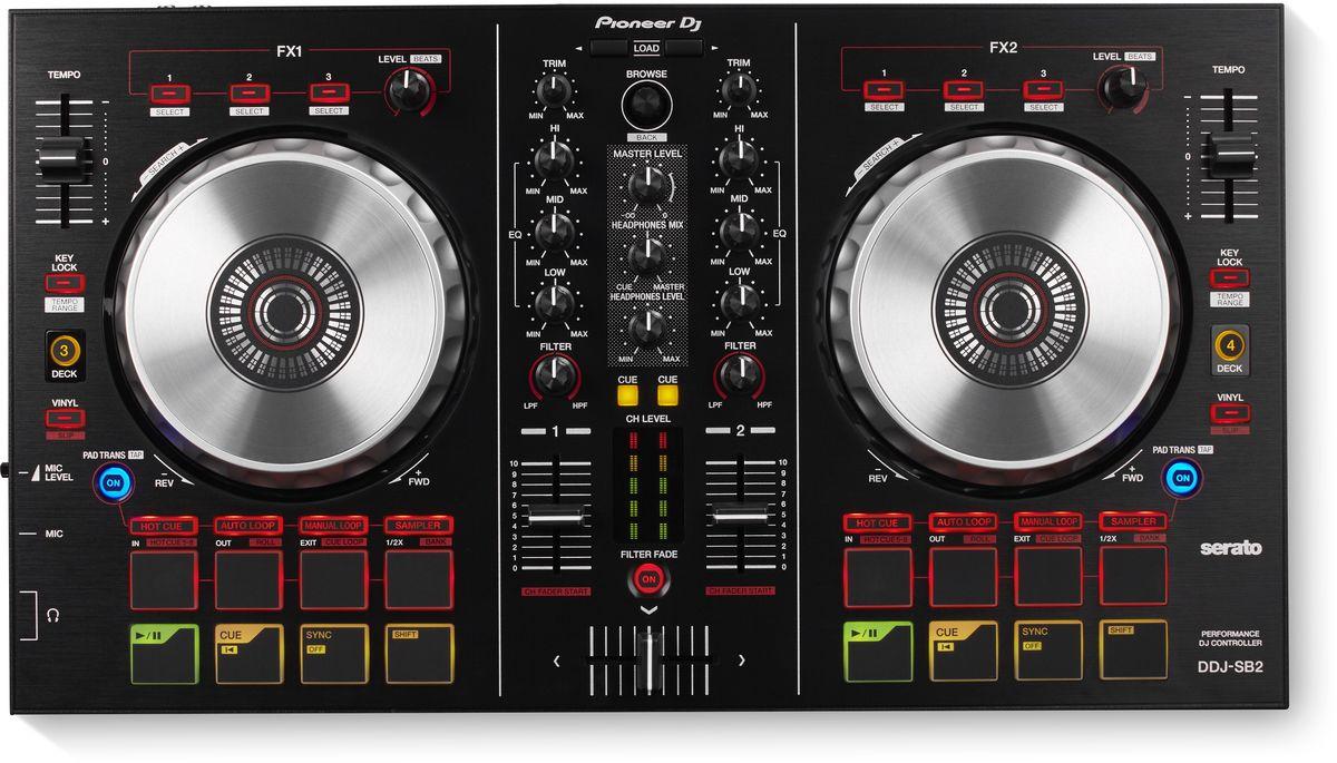 Pioneer DDJ-SB2 DJ контроллер для начинающих344558Контроллер Pioneer DDJ-SB2 стал весьма популярен среди начинающих диджеев благодаря интуитивному plug-and-play управлению программой Serato DJ Intro (поставляется в комплекте) и Serato DJ (апгрейд на платной основе). Обе версии предоставляют эффекты iZotope FX, режим Slip, функцию записи и возможность подключения пакетов расширений.Инновационная функция Filter Fade обеспечивает бесшовное микширование треков, позволяя регулировать громкость и фильтр низких частот одной рукой. Таким образом, вторая рука освобождается для работы с пэдами и кнопками для запуска семплов, эффектов и петель.Возможности Pioneer DDJ-SB2 расширены профессиональными функциями, которые обычно встречаются в более высоком ценовом сегменте: это и управление четырьмя деками, и индикаторы уровня сигнала на каждом канале, а также Trans Beat эффект, который уменьшает громкость при нажатии пэда трека синхронно с битом.Четыре кнопки запускают Hot Cue, Auto Loop, Manual Loop и Sampler, другие четыре — позволяют получить мгновенный доступ к функциям Play, Cue, Sync и Shift.Контроллер питается от USB, он более компактный и портативный, чем профессиональные модели DDJ-SX2 и DDJ-SZ, при этом столь же удобен и интуитивен, качественно изготовлен и имеет множество передовых функций.Характеристики:Частотный диапазон: 20 - 20000 ГцЧастота дискретизации: 44100 ГцА/Ц преобразователь: 24 битЦ/А преобразователь: 24 битСоотношение сигнал/шум: 90 дБЗвуковые искажения: 0,005%Эффекты/Семплер: параметры эффектов: 3 кнопки / сэмплер: 4 на каждую декуДиаметр джога: 128 ммКоличество Hot Cue: 4Петли: Autoloop / Hot Loop / Manual loop / бесшовная петля / настройка входа/выхода петли