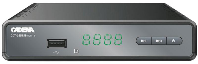 Cadena CDT-1651SB, Black DVB-T2 ТВ-тюнерCADENA CDT-1651SBПриемник Cadena CDT-1651SB предназначен для просмотра бесплатного цифрового эфирного телевидения высокого качества.Высокочувствительный тюнер обеспечивает стабильное качество принимаемого сигнала. При подключении внешнего USB устройства можно записывать транслируемые телевизионные каналы, а так же воспроизводить мультимедийные файлы и изображения на телевизор.Приемник имеет HDMI выход, при помощи которого можно выводить на телевизор изображение в формате высокой четкости HD 1080p. Также выполнить подключение к телевизору можно и при помощи аналогового RCA выхода. Поддержка субтитров, телетекста, электронной программы передач (EPG).