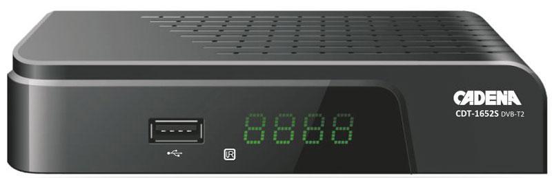 Cadena CDT-1652S, Black DVB-T2 ТВ-тюнерCADENA CDT-1652SПриемник Cadena CDT-1652S предназначен для просмотра бесплатного цифрового эфирного телевидения высокого качества.Высокочувствительный тюнер обеспечивает стабильное качество принимаемого сигнала. При подключении внешнего USB устройства можно записывать транслируемые телевизионные каналы, а так же воспроизводить мультимедийные файлы и изображения на телевизор.Приемник имеет HDMI выход, при помощи которого можно выводить на телевизор изображение в формате высокой четкости HD 1080p. Также выполнить подключение к телевизору можно и при помощи аналогового RCA выхода. Поддержка субтитров, телетекста, электронной программы передач (EPG).