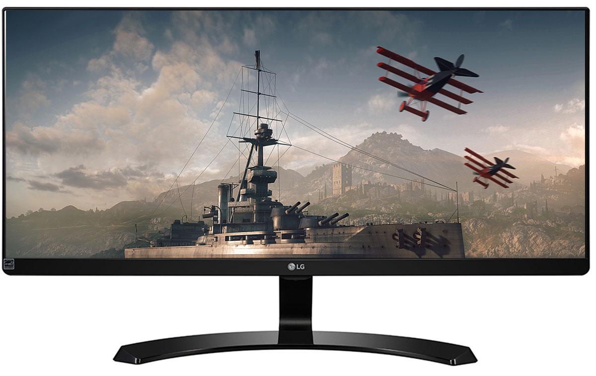 LG 29UM68-P, Black монитор29UM68-P.ARUZМонитор LG 29UM68-Pс UltraWide экраном формата 21:9 с разрешением FHD (2560 x 1080) обеспечивает качественное и комфортное для глаз изображение. Полное отсутствие эффектов смещения или искажения цвета.Игровой режим с подрежимами FPS, RTS и пользовательским подрежимом позволяет настраивать монитор в зависимости от жанра игры. Функция стабилизации черного цвета (Black Stabilizer) особенно удобна для обнаружения объектов, в том числе врагов, скрывающихся в темных областях. Функция динамической синхронизации действий (Dynamic Action Sync) позволяет быстрее атаковать врагов и уменьшить время задержек. Охват более 99 % цветового пространства sRGB гарантирует максимально естественные цвета. Для обеспечения точной цветопередачи монитор калибруется на этапе производства.Режимы разделения экрана и картинка-в-картинке позволят максимально эффективно работать с несколькими приложениями. Благодаря меню OnScreen Control (Элементы управления на экране) и My Display Presets (Настройки «Мой дисплей») вы можете легко настроить параметры монитора несколькими щелчками мышью.