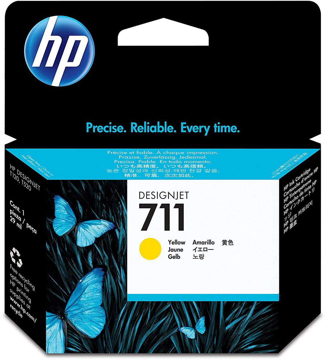 HP CZ132A (711), Yellow картридж для T120/T520CZ132AКартридж HP 711 емкостью 29 мл с желтыми чернилами обеспечивает великолепную печать. Насыщенный цвет и четкие линии в сочетании с быстрым высыханием и стойкостью фотографий к смазыванию. Оригинальные чернила HP разработаны и протестированы вместе с принтерами для обеспечения стабильных результатов.Пробы и ошибки отнимают время. Для получения качества, достойного вас, используйте оригинальные расходные материалы HP, которые в сочетании с принтером работают как оптимизированная система печати для обеспечения точных линий, четких деталей и богатой цветовой гаммы.Представьте, какое влияние вы сможете оказать на своих слушателей, если в вашем арсенале будут четкие и легкочитаемые чертежи и цветные презентации. Оригинальные чернила HP - это уникальная комбинация качества и надежности; чернила HP - это четкость линий, быстрое высыхание и стойкость к смазыванию.