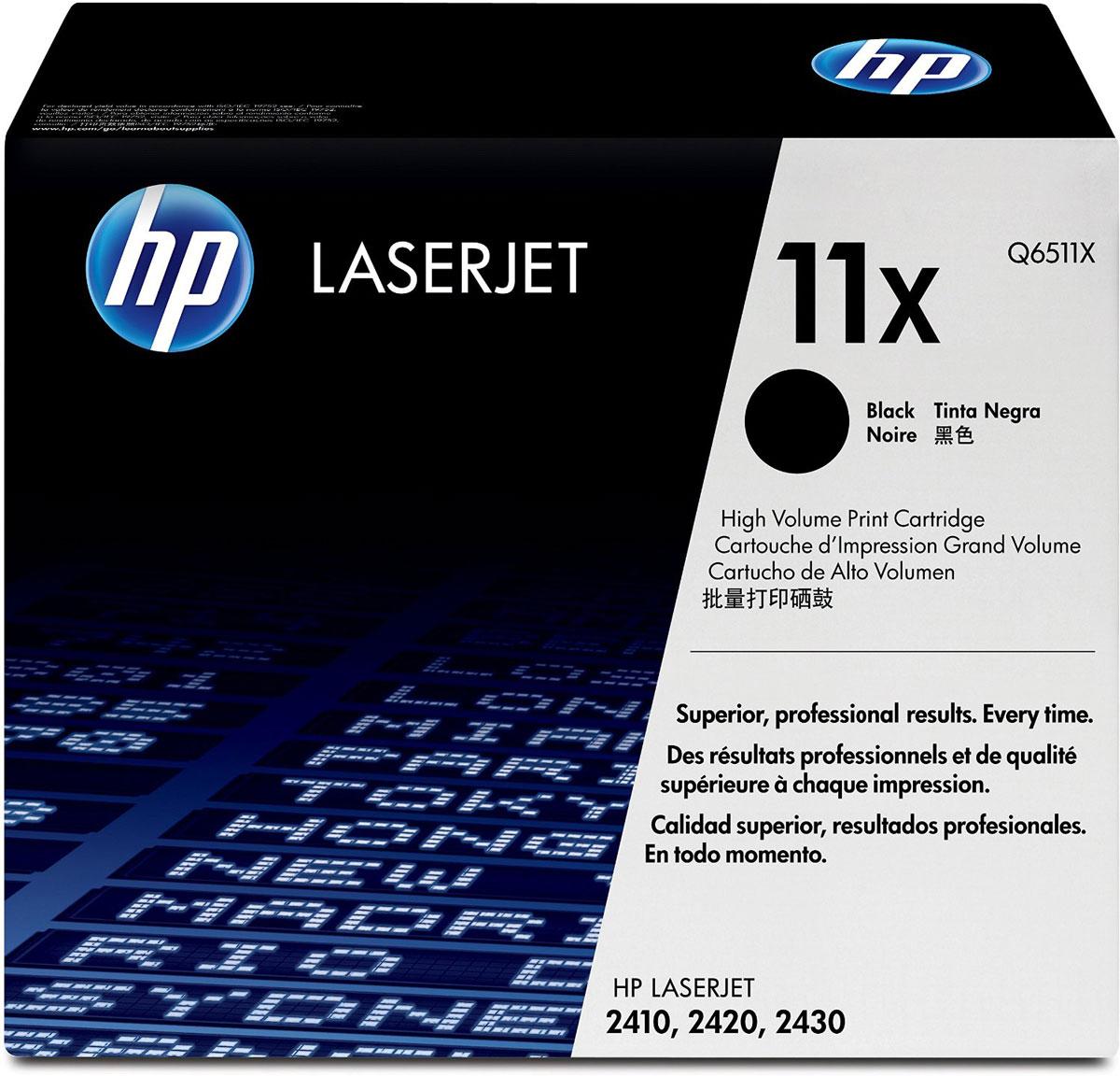 HP Q6511X (11X), Black тонер-картридж для LaserJet 2410/2420/2430Q6511XКартриджи HP Q6511X (11X) обеспечивает бесперебойную печать. Оригинальные картриджи HP с оригинальным тонером HP гарантируют качественное выполнение задач печати в офисе. Добейтесь превосходного качества черно-белой печати для повседневных нужд. Это недорогое и производительное решение отлично подойдет для печати отчетов, счетов, таблиц и других повседневных документов.Конструкция оригинальных картриджей LaserJet и уникальная формула тонера HP гарантируют неизменно высокое качество печати на протяжении всего срока службы картриджа. Конструкция расходных материалов обеспечивает стабильные показатели ресурса при смене картриджа.