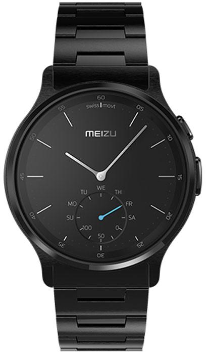 Meizu Mix Steel, Black смарт-часыMZWA1S-S-BKЛёгкие умные часы с кварцевым механизмом Meizu Mix. Корпус, циферблат, стрелки и браслет умных кварцевых часов Meizu Mix изготовлены из ювелирной стали. Она устойчива к коррозии, высоким температурам и износу. Прекрасная комбинация надёжных материалов и утончённого дизайна.Элегантное сапфировое стекло. Твёрдость сапфирового стекла равна 9 и уступает лишь алмазу. Такое стекло выдерживает царапины, удары и высокие температуры. Вы не будете разочарованы.В умных часах Meizu Mix установлен швейцарский часовой механизм, известный благодаря своей долгой истории и мастерству изготовления. В часах сочетаются функциональность умных часов и продолжительный срок службы с традиционной точностью и надёжностью.Легкие умные часы Meizu плотно сидят на запястье. Теперь вы больше не пропустите входящий звонок, SMS или сообщение в мессенджере. В часах возможно настроить будильник и напоминания.Высокоточный сенсор отслеживает ваши передвижения и подсчитывает потраченное количество калорий и показывает ежедневную физическую активность. Если вы переключились на малый циферблат, с помощью секундной стрелки вы можете выбрать информацию для отображения, например, физическая активность за неделю. Переключаться между режимами очень просто.Не можете найти свой телефон? Нажав на кнопку на часах, вы можете включить проигрывание рингтона на смартфоне.В часах Meizu Mix установлена батарея способная работать до 240 дней, поэтому вам больше не будут надоедать ежедневные зарядки аккумулятора. Часы выдерживают погружение в воду на глубину до 30 метров, но брать их с собой в сауну не разрешается.