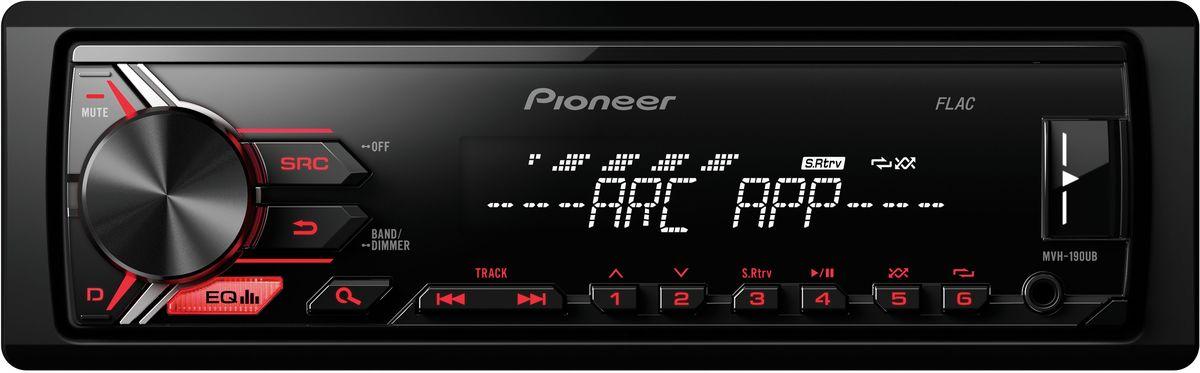 Pioneer MVH-190UB автомагнитола1025106Модель Pioneer MVH-190UB создана специально для цифровой музыки и современных носителей информации. К ней можно подключить смартфон на Android, а также другие устройства через USB порт или дополнительный Aux-вход на фронтальной панели. При этом вы можете одновременно слушать любимую музыку и заряжать аккумулятор телефона. Вы также можете настроится на одну из 24 предустановленных FM радиостанций, чтобы получать ещё больше музыкального контента.Встроенный усилитель MOSFET с выходной мощностью 4 х 50 Вт позволяет воспроизводить музыку в высоком качестве. Для того, чтобы увеличить мощность, можно воспользоваться RCA выходом на тыловой панели устройства для подключения дополнительного сабвуфера или усилителя.Эта модель имеет короткое шасси ( корпус на 41% короче обычного), что существенно упрощает ее установку в автомобиле.