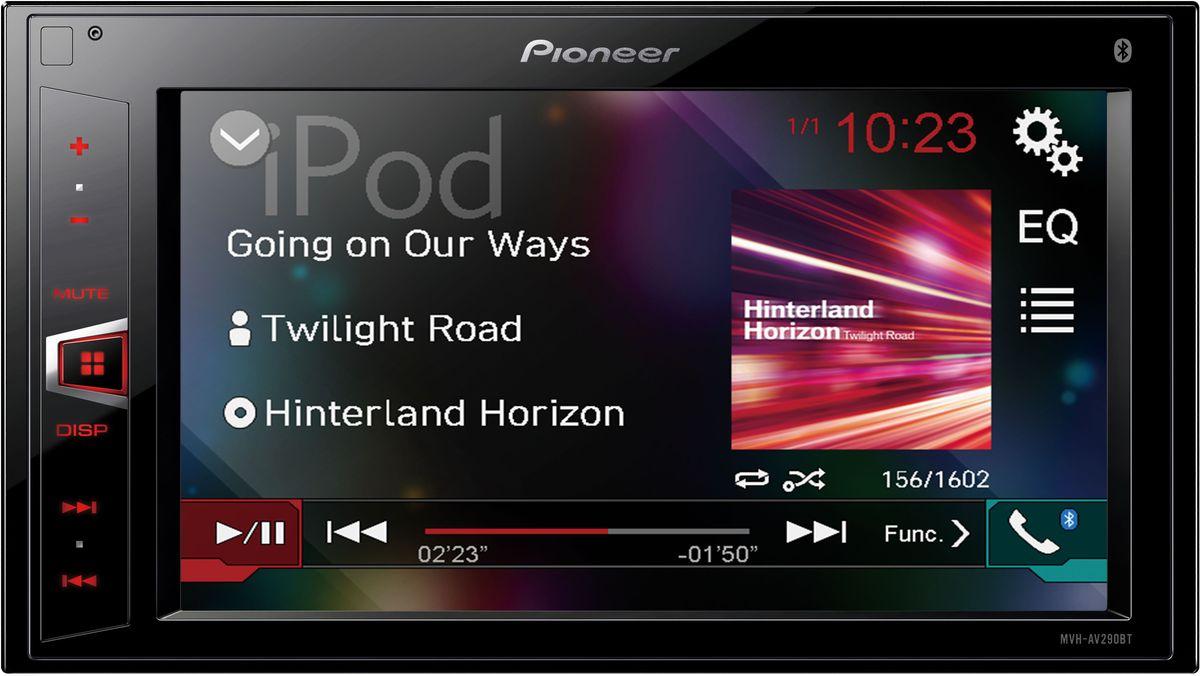Pioneer MVH-AV290BT автомагнитолаMVH-AV290BTБездисковая мультимедийная система с Bluetooth, USB и AUX входами, 2 RCA-выходами и встроенным усилителем MOSFET 4х50 ВТ. Поддерживает работу с iPhone/iPod. Имеет красную подсветку кнопок, воспроизводит аудиоформаты MP3/WMA/WAV/AAC и видеоформаты AVI/MPEG4/DivX, фотографии в формате JPEG
