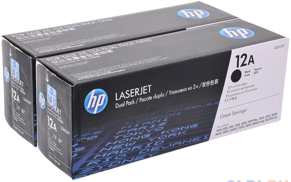 HP Q2612AF\AD, Black тонер-картридж для LaserJet 1010/1012/1015/1020/1022/015/3020/3030Q2612AFЧерные картриджи с тонером HP Q2612AF\AD в сдвоенной упаковке делают повседневную печать деловой документации более удобной и эффективной. Экономия времени, снижение простоев и уверенность в высоком качестве конечного результата. Неизменная четкость текста и резкость изображений. Подлинные картриджи с тонером HP LaserJet на 70% определяют качество печати, они разработаны специально для конкретной модели принтера, обеспечивая надежные, профессиональные результаты и экономя ваше время.Картриджи HP для принтеров LaserJet - это неизменно четкий текст и резкие черно-белые изображения для профессионального вида печатаемых документов.Оригинальные расходные материалы HP удобны в приобретении, управлении и использовании. Удобство печати, управления и бесплатной утилизации делает печать проще, чем когда бы то ни было прежде.