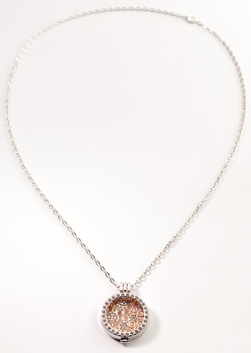 Кулон Bradex Узоры, цвет: золотистый, серый металлик. AS 008939890|Колье (короткие одноярусные бусы)Кулон Bradex Узоры представляет собой элегантный круг с серебряным покрытием, инкрустированный мелкими кристаллами по периметру. Внутри круга расположены оригинальные узоры, сделанные в виде сплетенных между собой кругов разных размеров, также украшенных кристаллами. В комплекте имеется цепочка якорного плетения с серебряным покрытием.