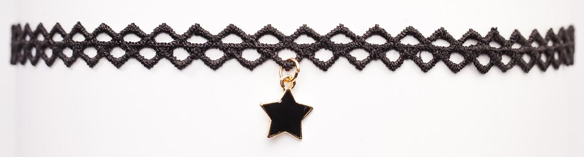 Чокер Bradex Звездочка, цвет: черный. AS 0093Бусы-ошейникBradex Звездочка - классический черный чокер с ажурным геометрическим плетением. В качестве декора выступает маленькая черная зведочка-подвеска.