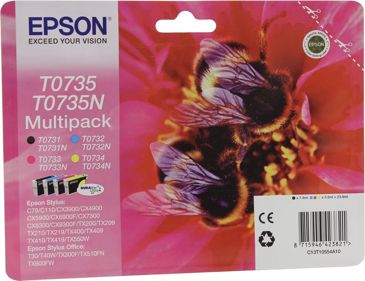 Epson T0735 Multipack (C13T10554A10) комплект картриджей для C79/C110/CX9300/TX419/TX600C13T10554A10Полный комплект картриджей Epson (CMYK) для струйных принтеров и многофункциональных устройств Epson.