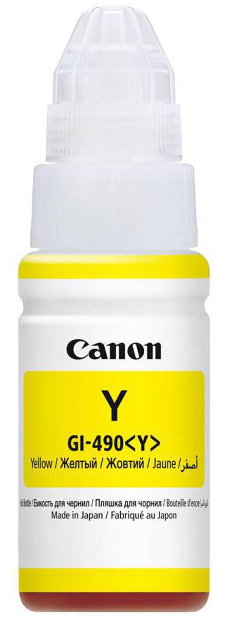 Canon GI-490, Yellow картридж для Pixma G1400/G2400/G34000666C001Картридж Canon Pixma GI-490 с пигментными черными чернилами предназначен для печати документов на обычной бумаге и обеспечивают высокую четкость и долговечность текста.