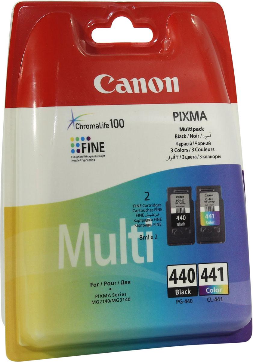 Canon PG-440/CL-441 комплект картриджей для Pixma MG2140/MG31405219B005Комплект картриджей Canon PG-440/CL-441 содержит черные, голубые, желтые и пурпурные чернила на основе красителей, которые используются для печати документов на обычной бумаге и обеспечивают четкость текста и долговечность печатных изображений.