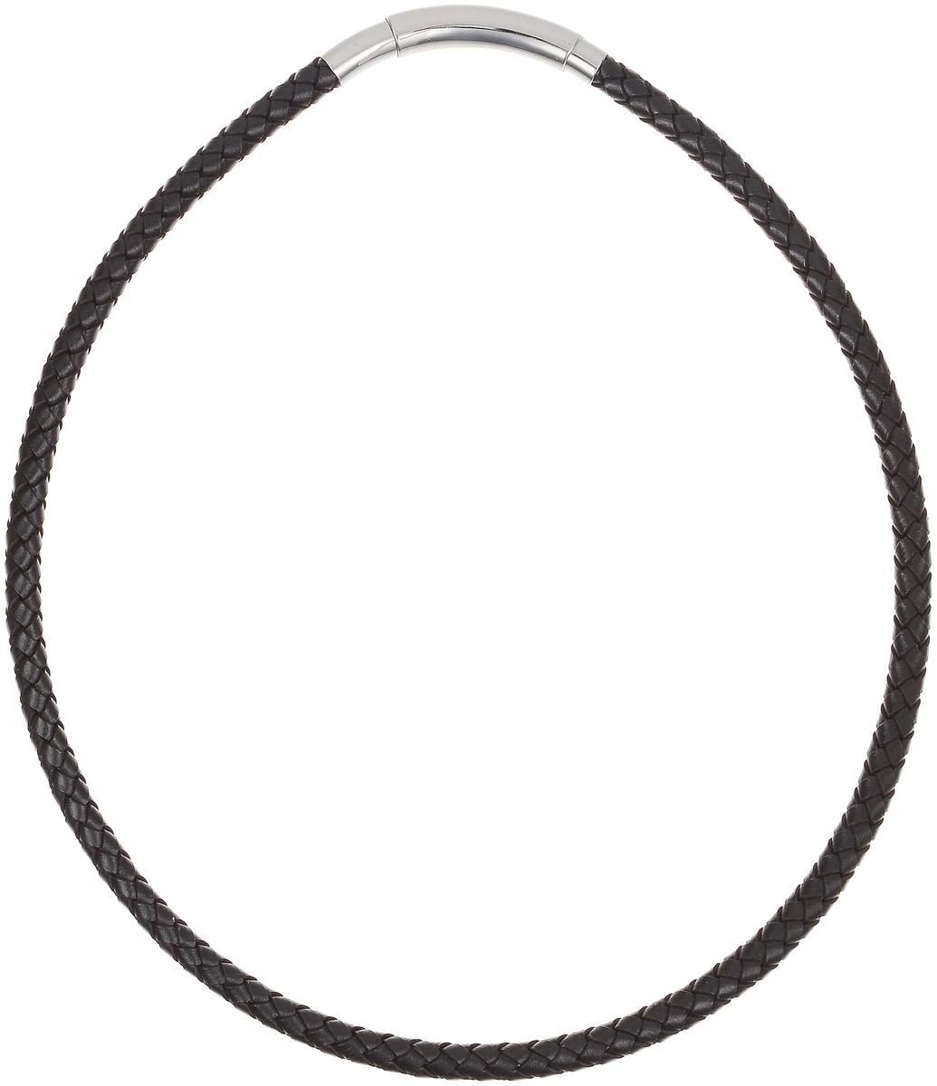 Ожерелье Art-Silver, цвет: коричневый. 292BD-851Колье (короткие одноярусные бусы)Ожерелье современного дизайна Art-Silver изготовлено из бижутерийного сплава и искусственной кожи. В комплекте с украшением поставляется мешочек для хранения.
