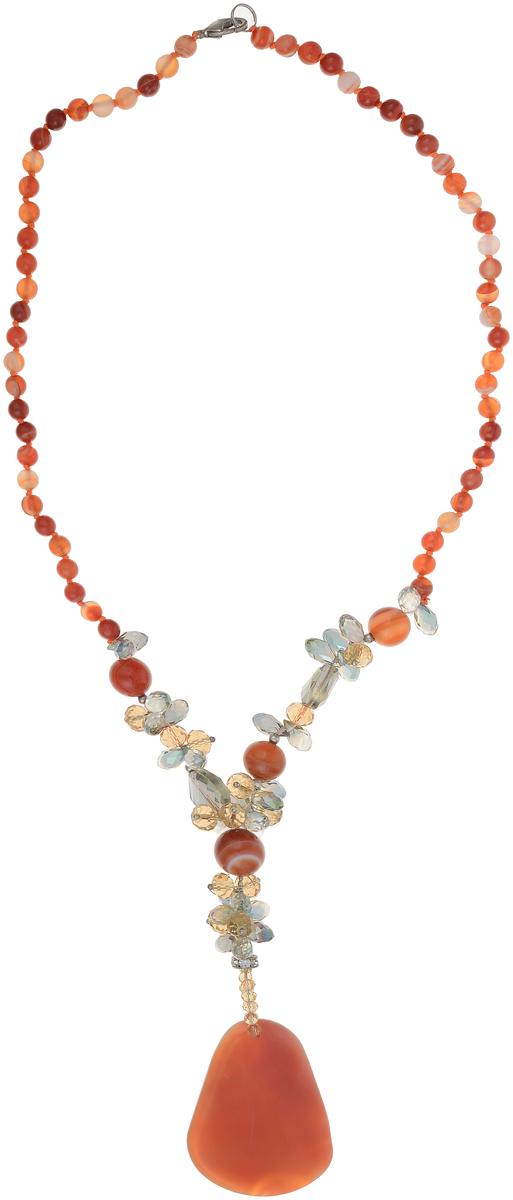 Бусы Art-Silver, цвет: оранжевый. СМЦ10-3-1384Бусы-ниткаБусы Art-Silver выполнены из бижутерного сплава, агата и кристаллов. Изделие оснащено удобным замком-карабином и дополнено объемной подвеской.