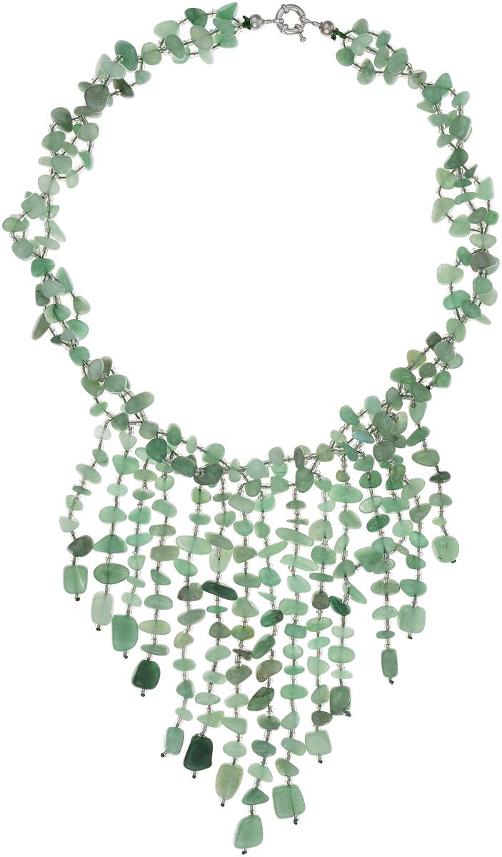 Бусы Art-Silver, цвет: зеленый. СМЦ65-1-1057Колье (короткие одноярусные бусы)Стильные бусы Art-Silver выполнены из бижутерного сплава, нефрита и бисера. Изделие оснащено удобным шпренгельным замком.