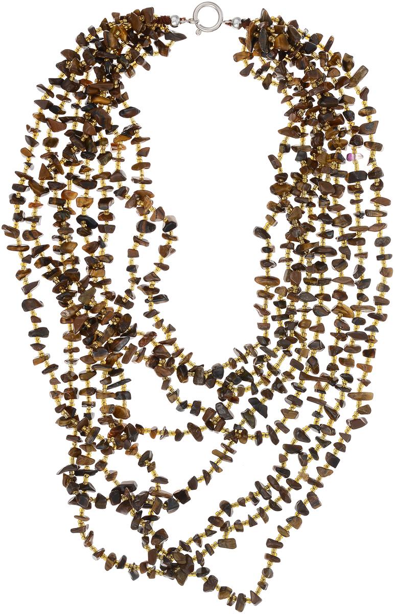 Бусы Art-Silver, цвет: коричневый. СМЦ32-6-730Бусы-ниткаБусы Art-Silver выполнены из бижутерного сплава, камня тигрового глаза и бисера. Изделие оснащено удобным шпренгельным замком.