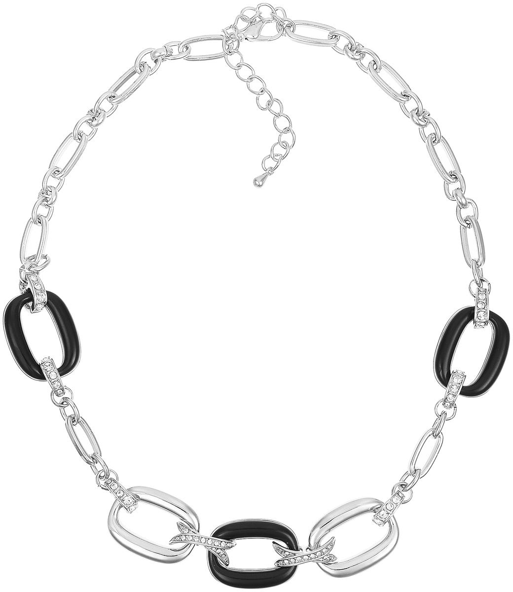 Ожерелье Art-Silver, цвет: серебряный, черный. MS06196N-R-B-1701Бусы-ошейникОжерелье современного дизайна Art-Silver изготовлено из бижутерийного сплава. Центральная часть ожерелья дополнена декоративными элементами с вставками из циркона и эмали. Колье застегивается на замок-карабин, длина изделия регулируется за счет дополнительных звеньев. В комплекте с украшением поставляется мешочек для хранения.