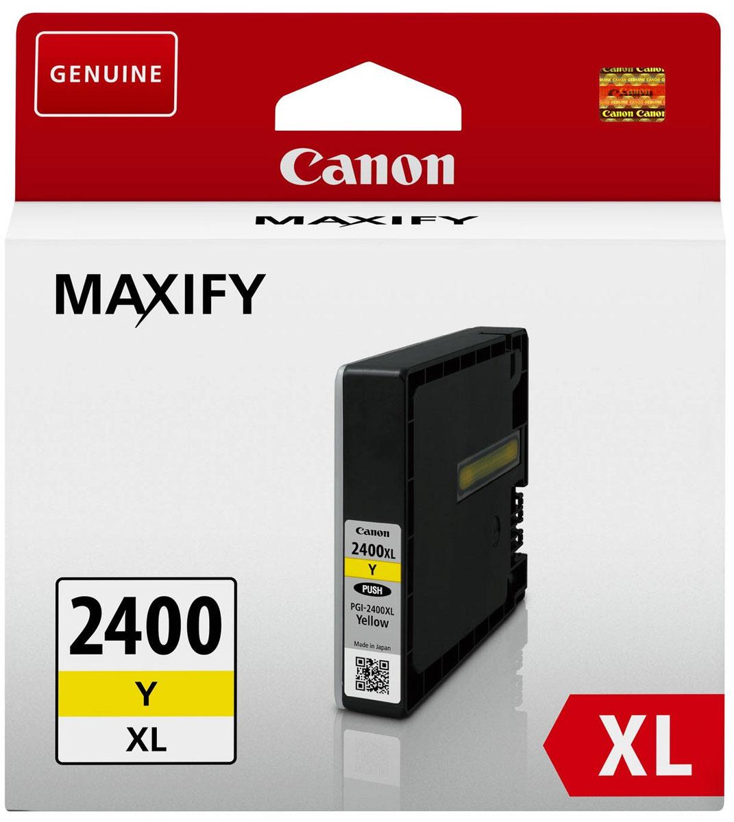 Canon PGI-2400XL, Yellow картридж для Maxify iB4040/МВ5040/МВ53409276B001Оригинальный картридж Canon PGI-2400XL с оригинальными чернилами гарантирует профессиональный вид печатаемых документов и высокую производительность. Надежная печать без проблем. Точная цветопередача и быстрое высыхание. Для получения красивых и долговечных отпечатков сделайте выбор в пользу чернил Canon.